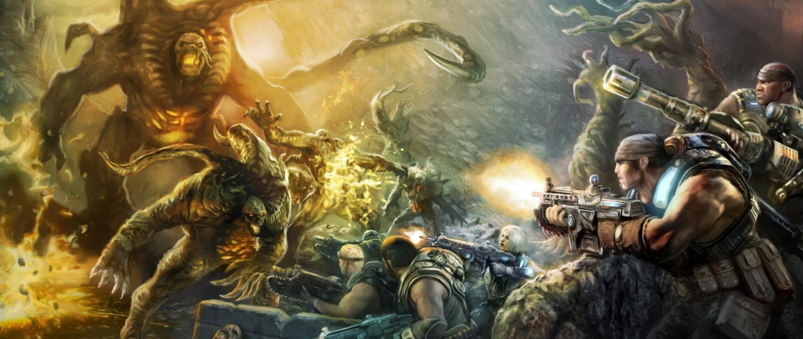Preview wallpaper gears of war judgment, art, video game, epic games  2560×1080