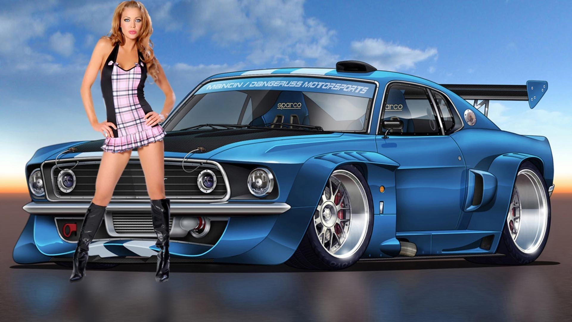 hot cars wallpapers with girls wallpaper
