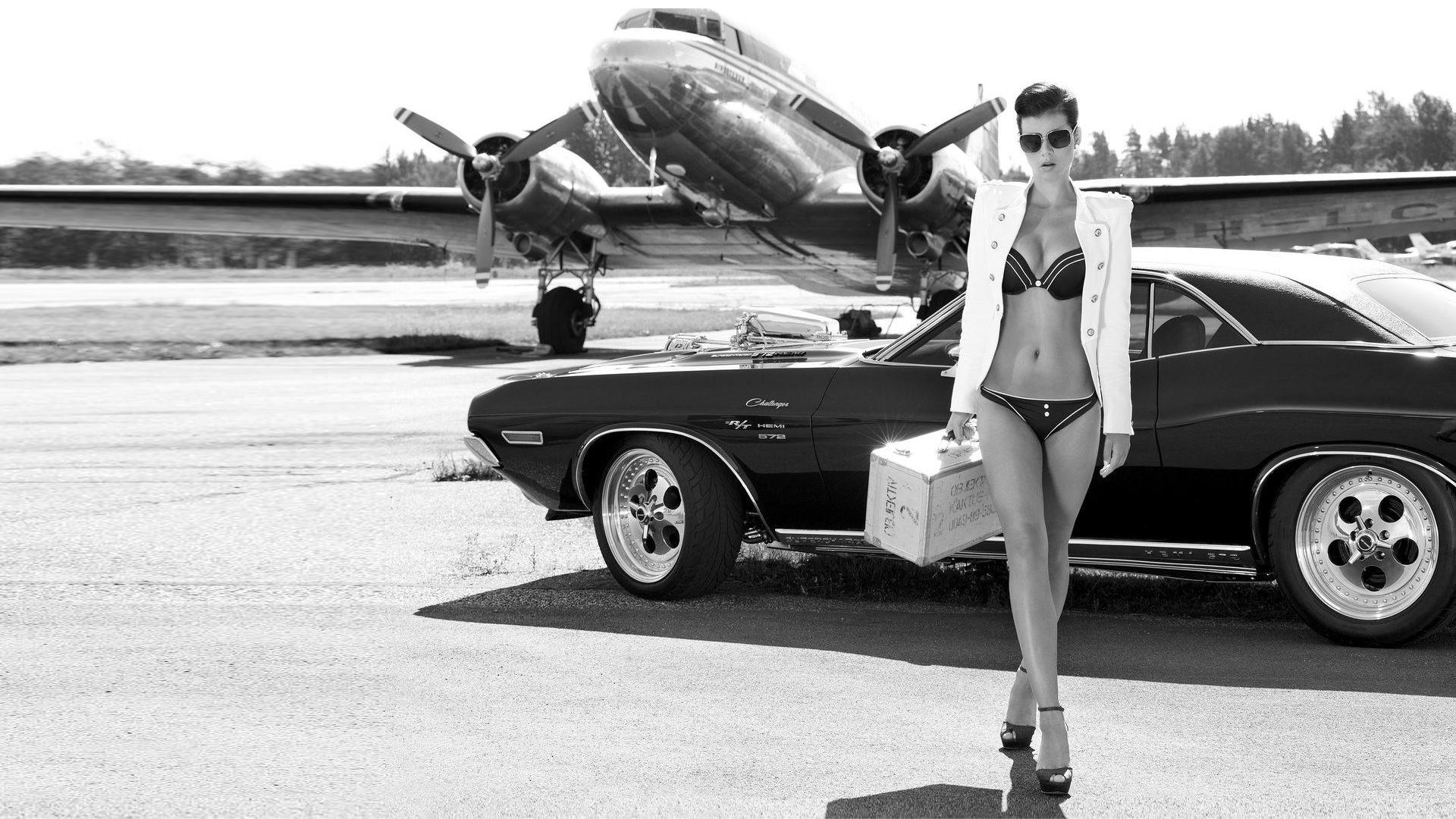 Dodge Challenger women muscle cars model black aircraft wallpaper |  | 29268 | WallpaperUP