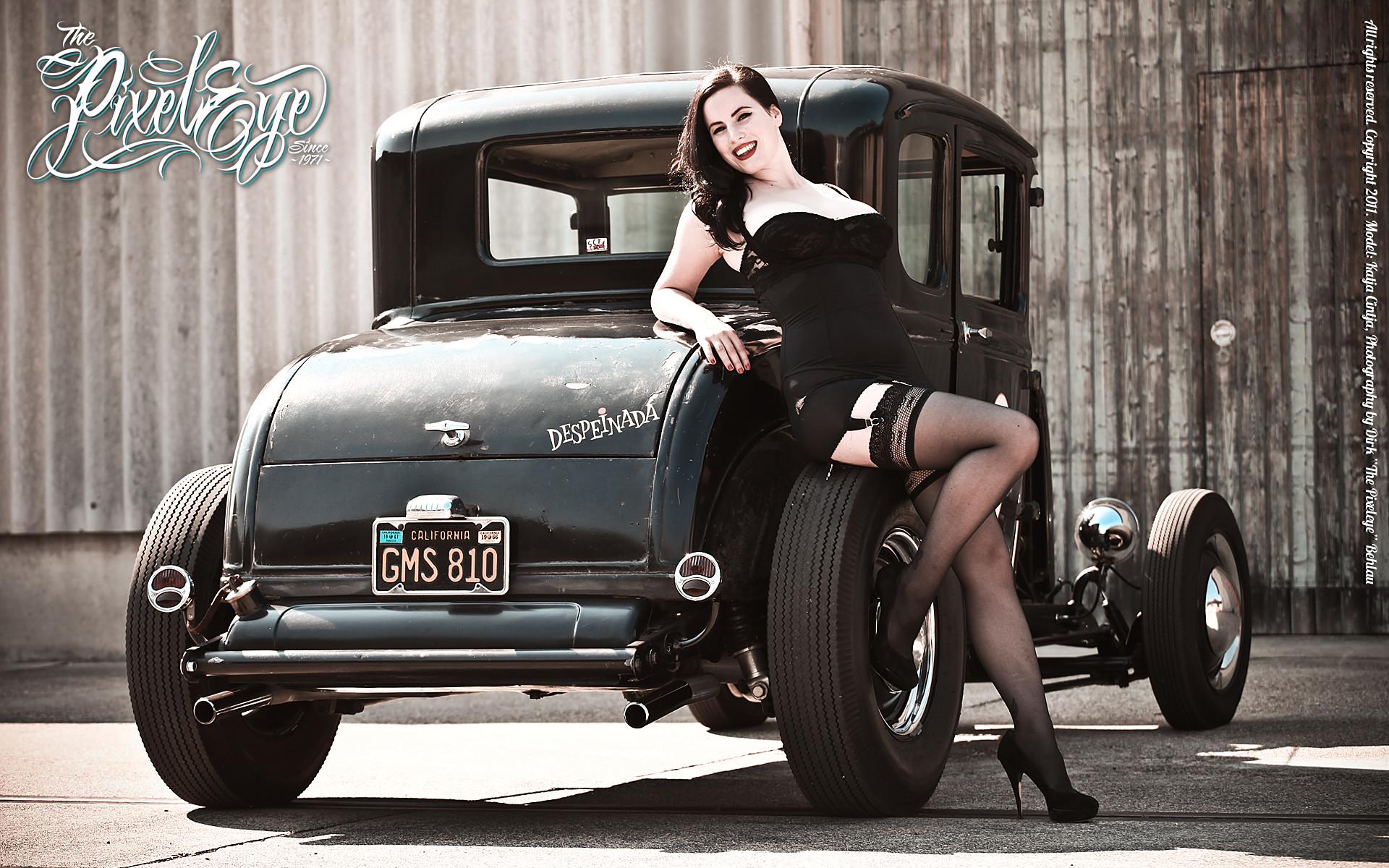 Katja Cintja & the Ford Model A Coupe Hot Rod – Widescreen Wallpaper