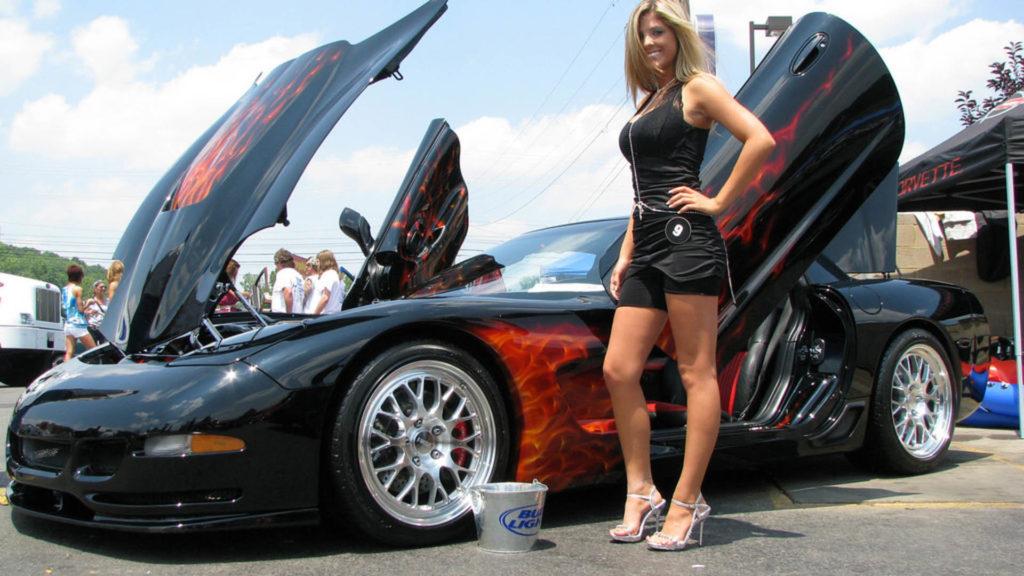 Super Hot Car With Hot Girl Original Photo Wallpaper