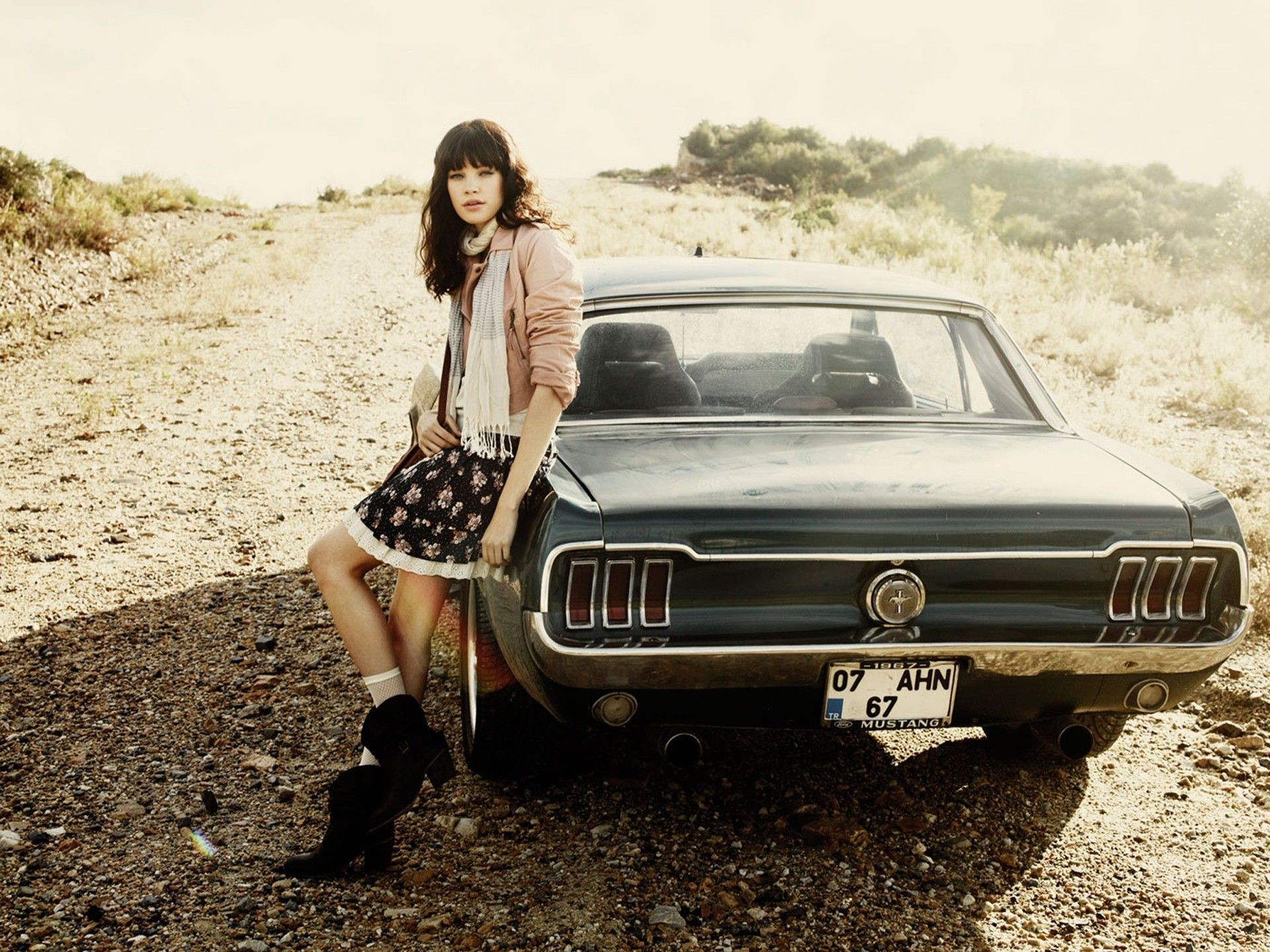 Women Cars Roads Vehicles Ford Mustang Girls With Cars Gravel Rear View Cars  Hd Wallpaper