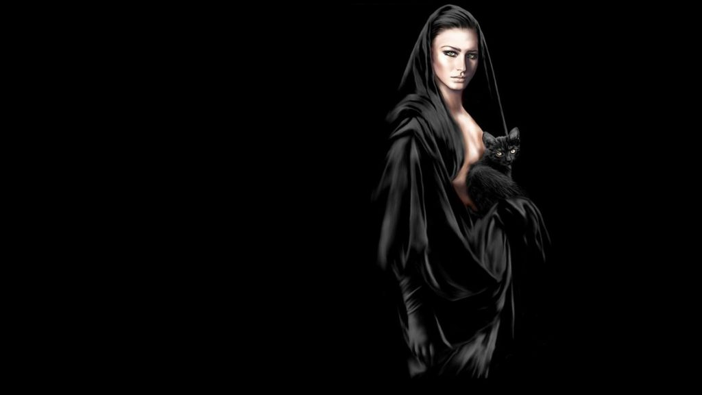 Witch, 3d art, black, brunette, cat, girl, sexy, witch