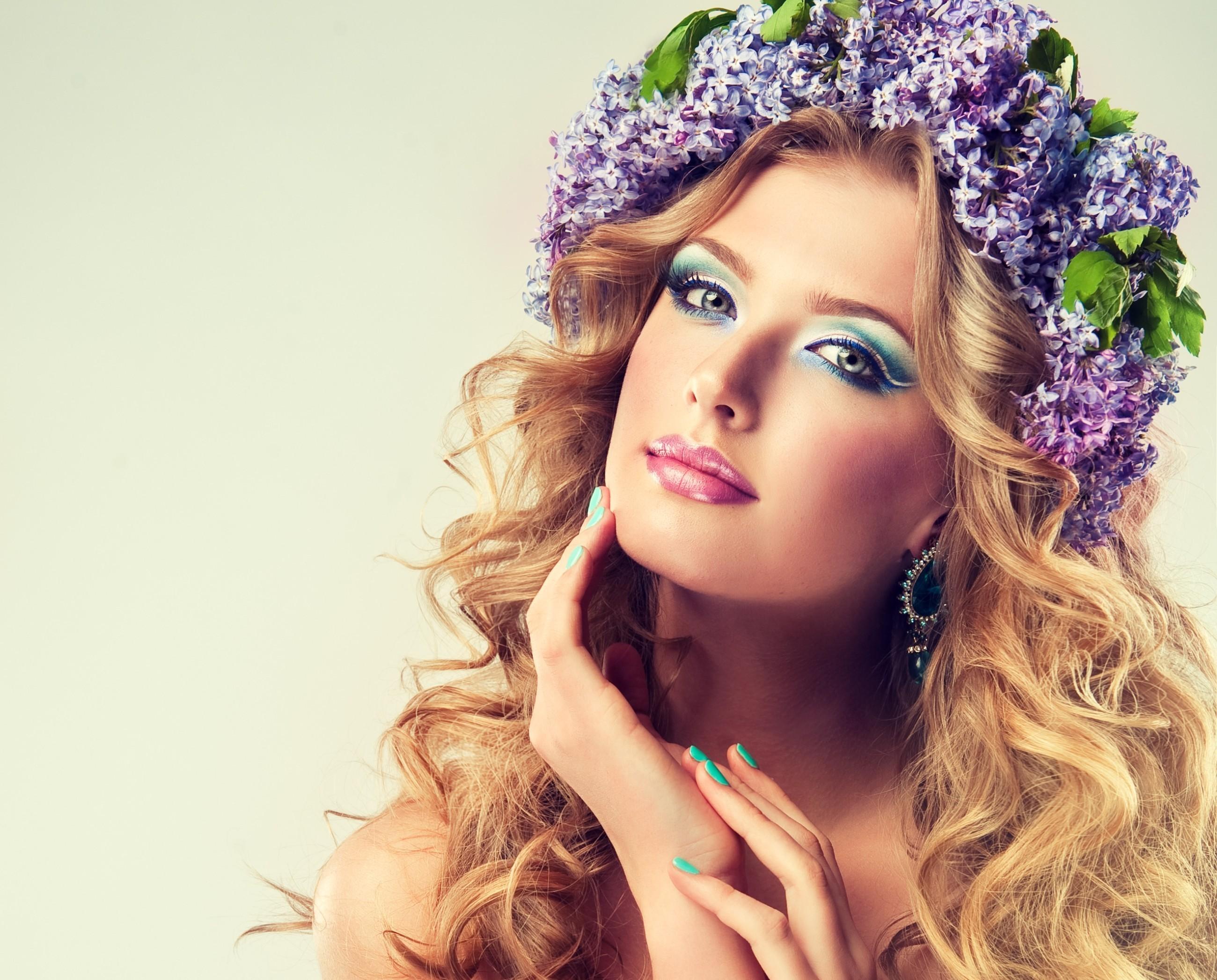 Women – Face Curl Hair Lilac Wreath Model Girl Wallpaper