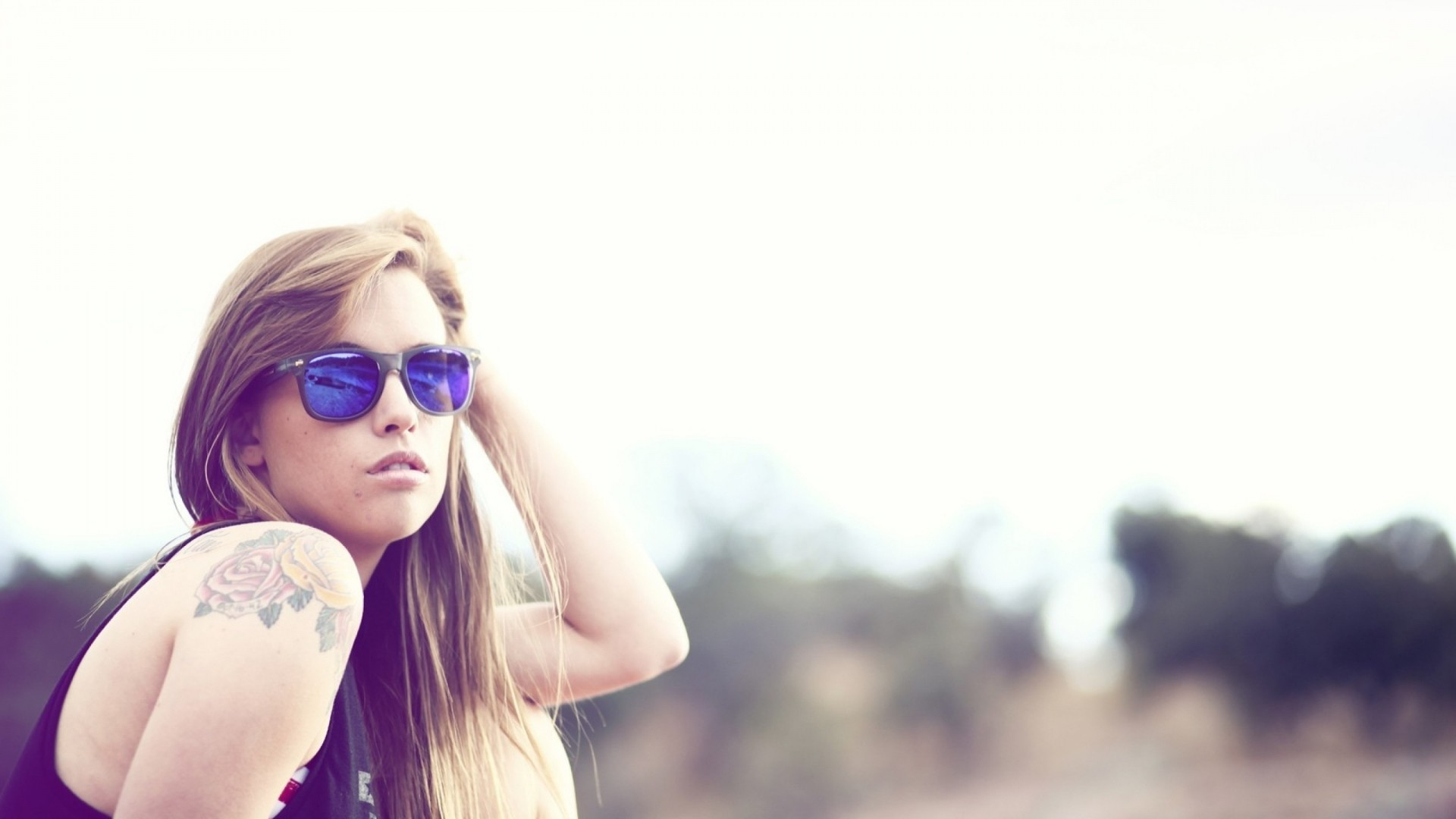 Preview wallpaper girl, tattoo, sunglasses 1920×1080