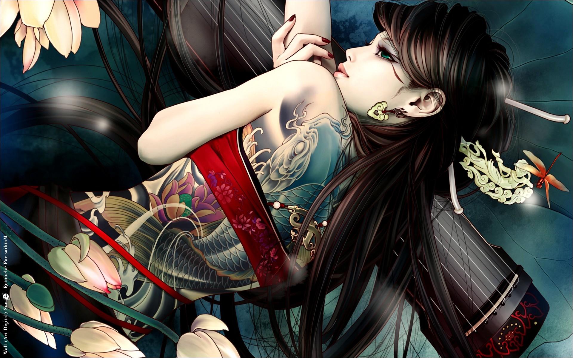 Beautiful Cool Girl Back Tattoo Anime HD Wallpaper Desktop PC Background  1803