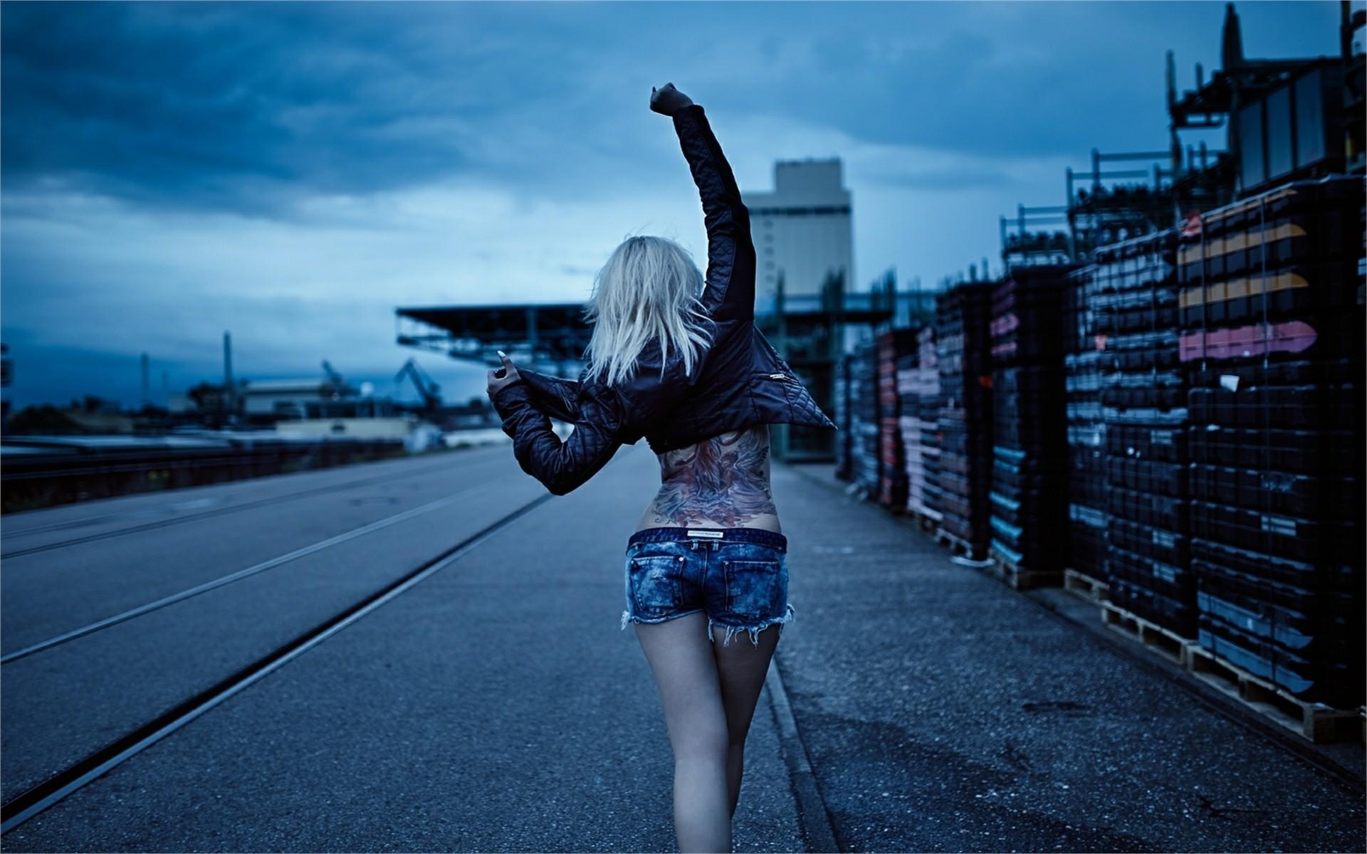 Girl, Jacket. Short Jeans Road, Dance, Tattoo