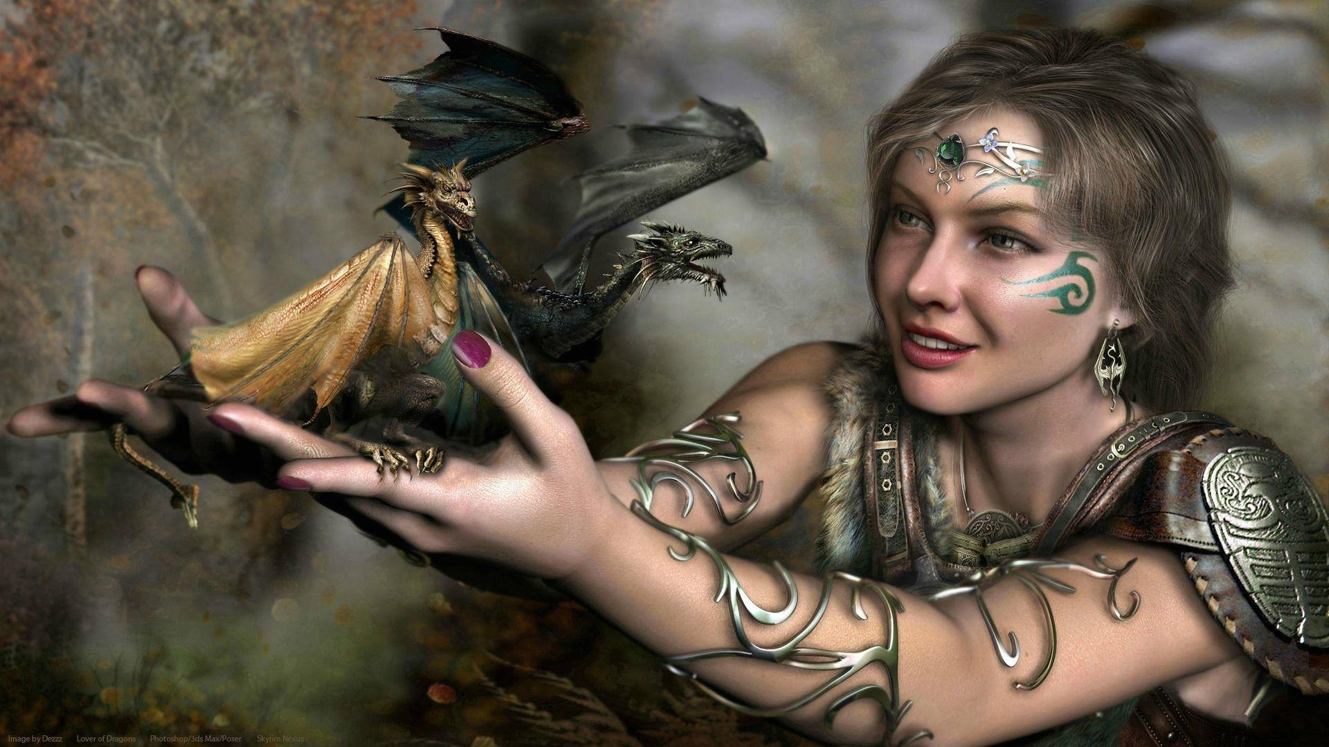 Fantasy Girl With Dragon Tattoos HD Wallpaper. Search more high