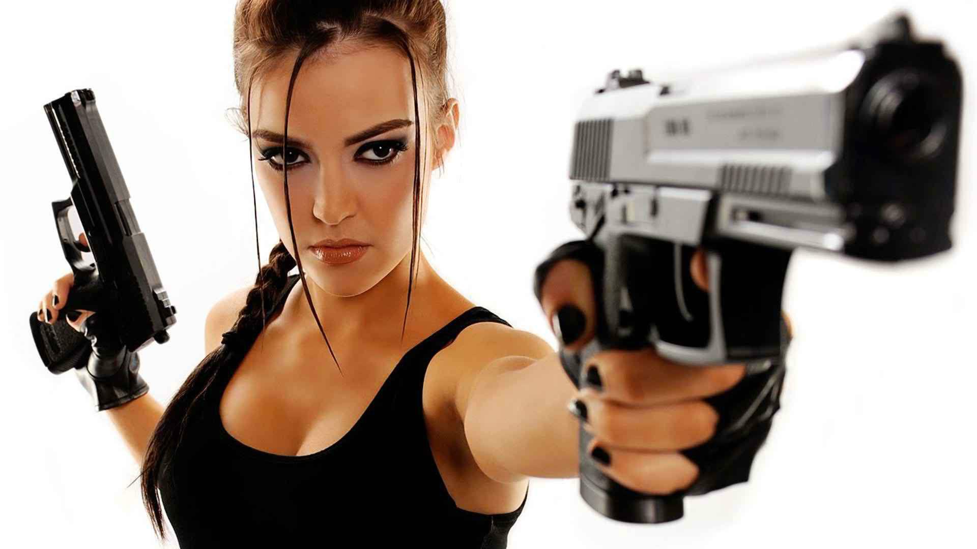 Beautiful Girl with Guns Wallpaper
