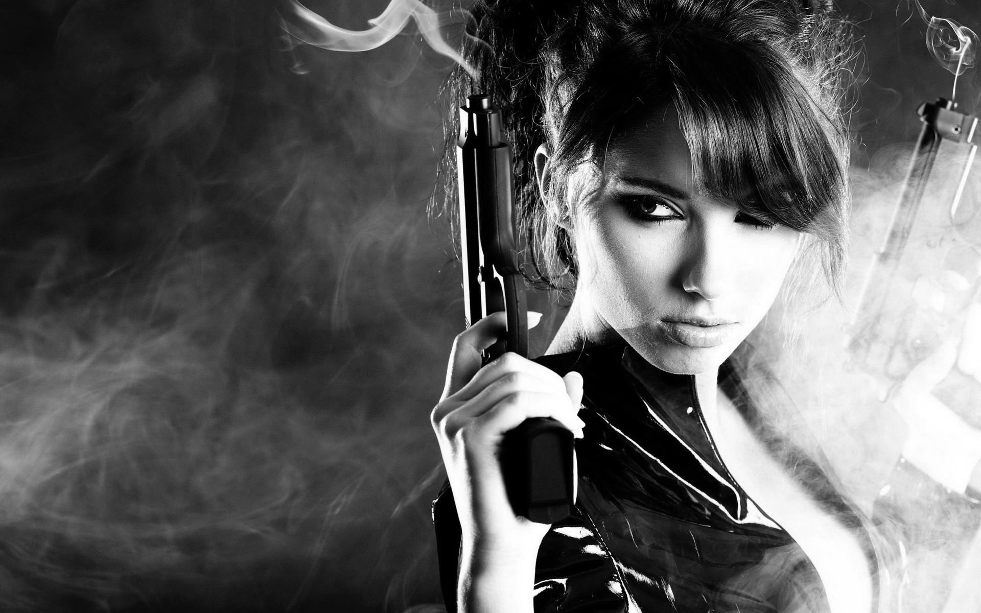 gun brunette military guns gun girl girls pistol smoke b-w wallpaper