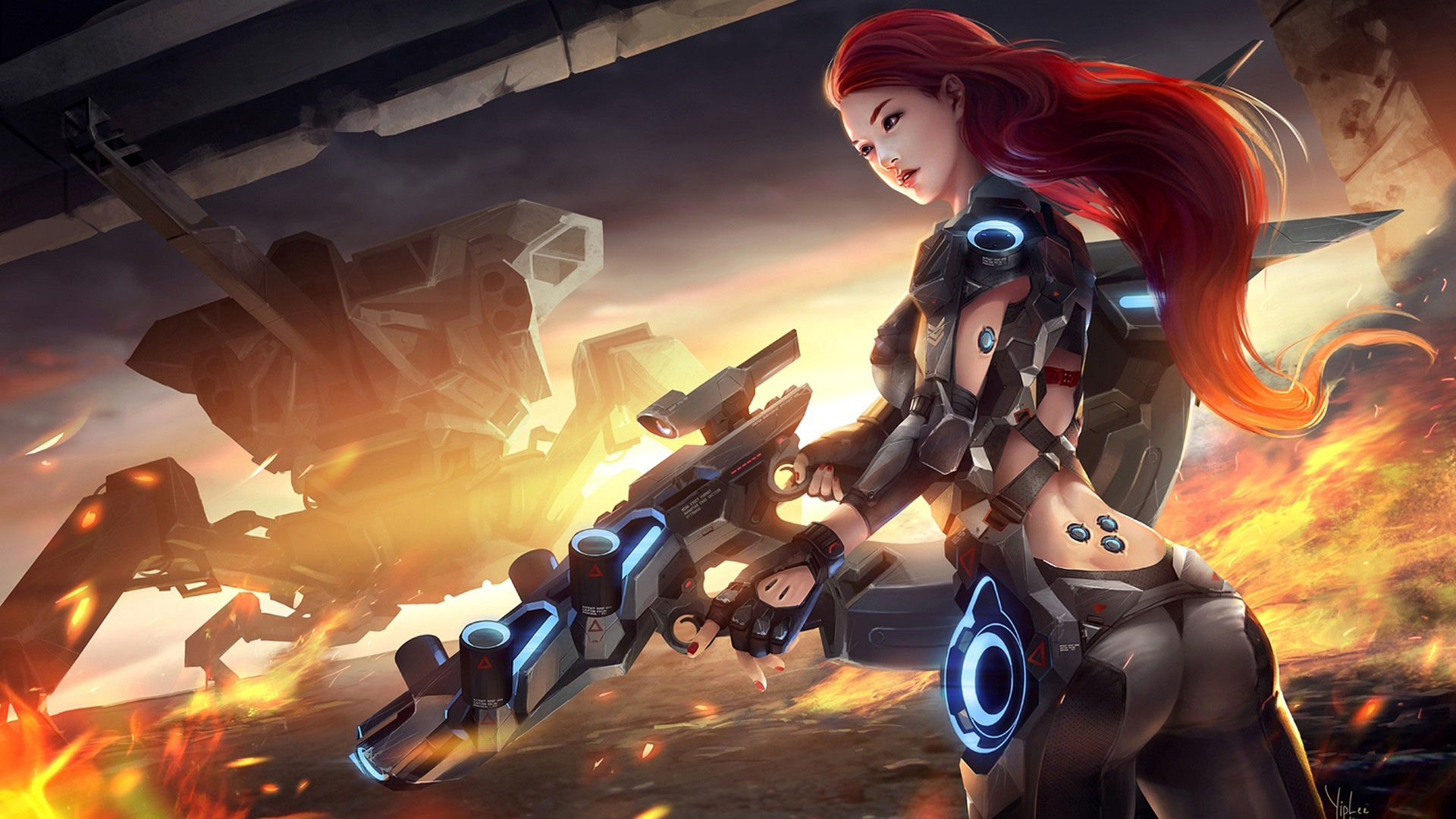 Sci Fi – Women Warrior Girl Gun Tank Fire Rifle Armor Battle Girls & Guns  Wallpaper