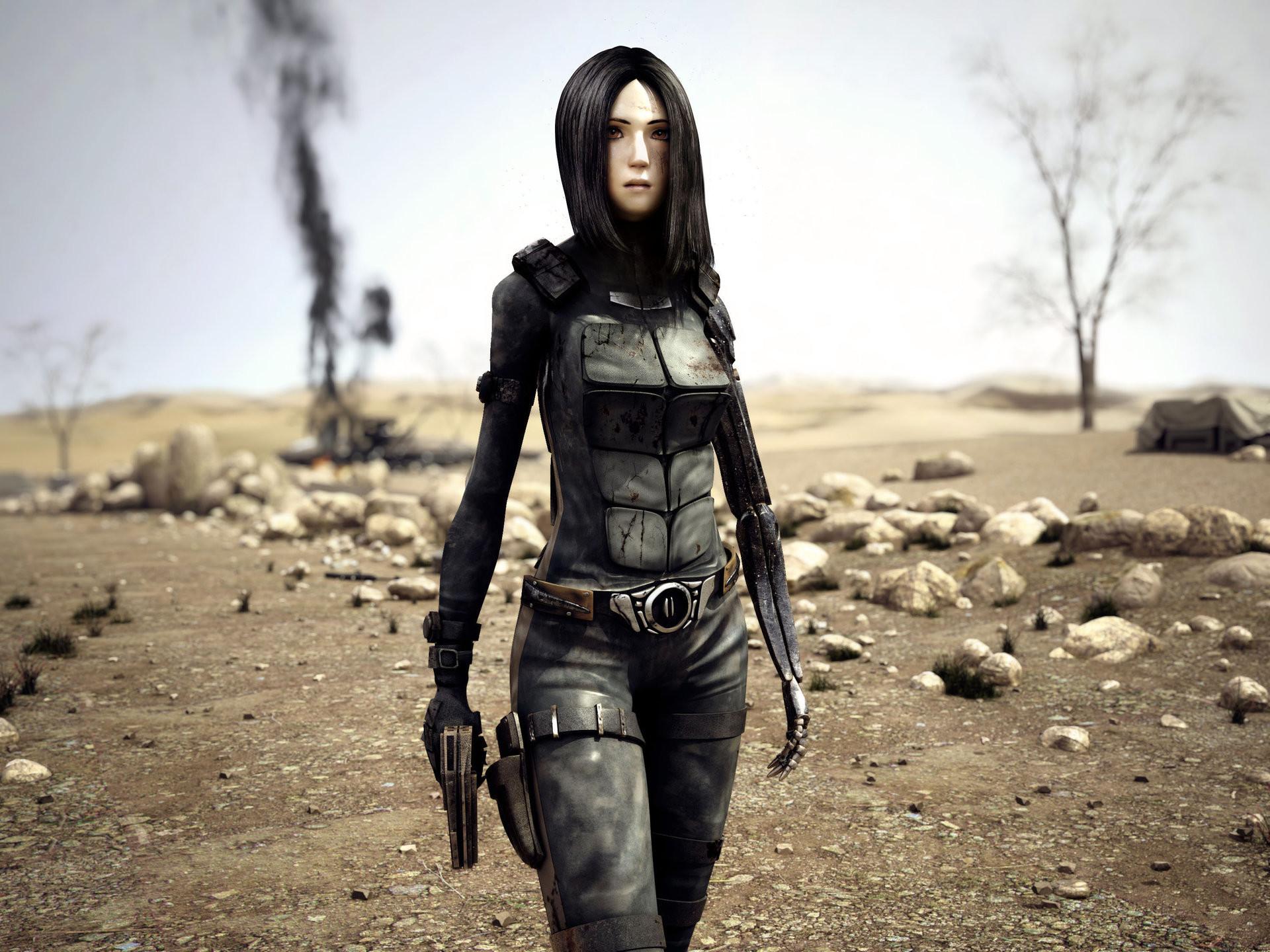 Sci Fi – Women Warrior Digital Art Sci Fi Desert Woman Warrior Girls & Guns  Wallpaper