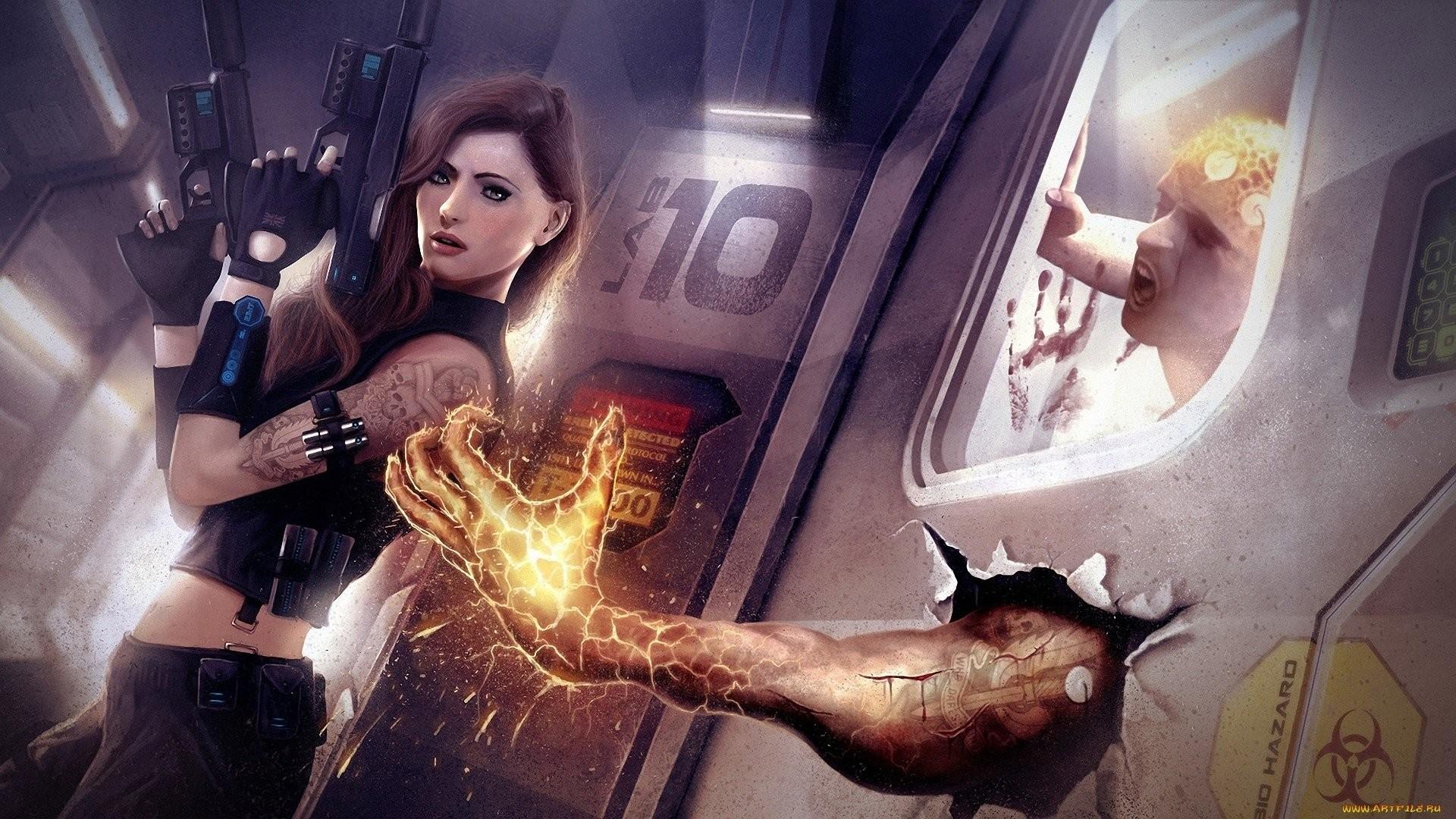 Sci Fi – Women Warrior Tattoo Girls & Guns Biohazard Wallpaper