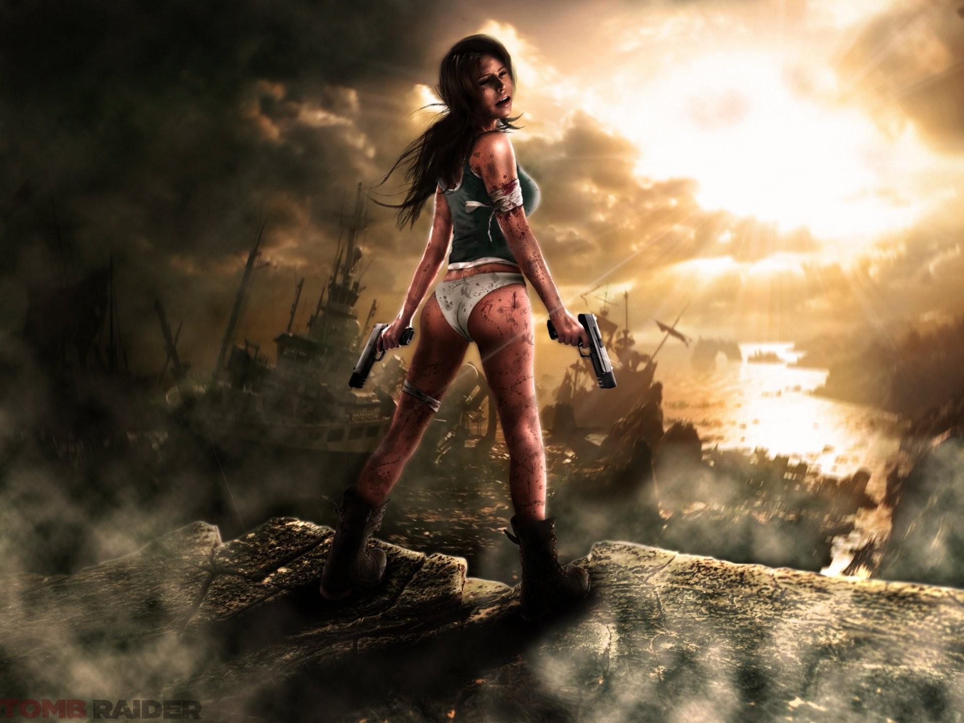 tomb raider lara croft girl guns dressings blood stones ships clouds rays