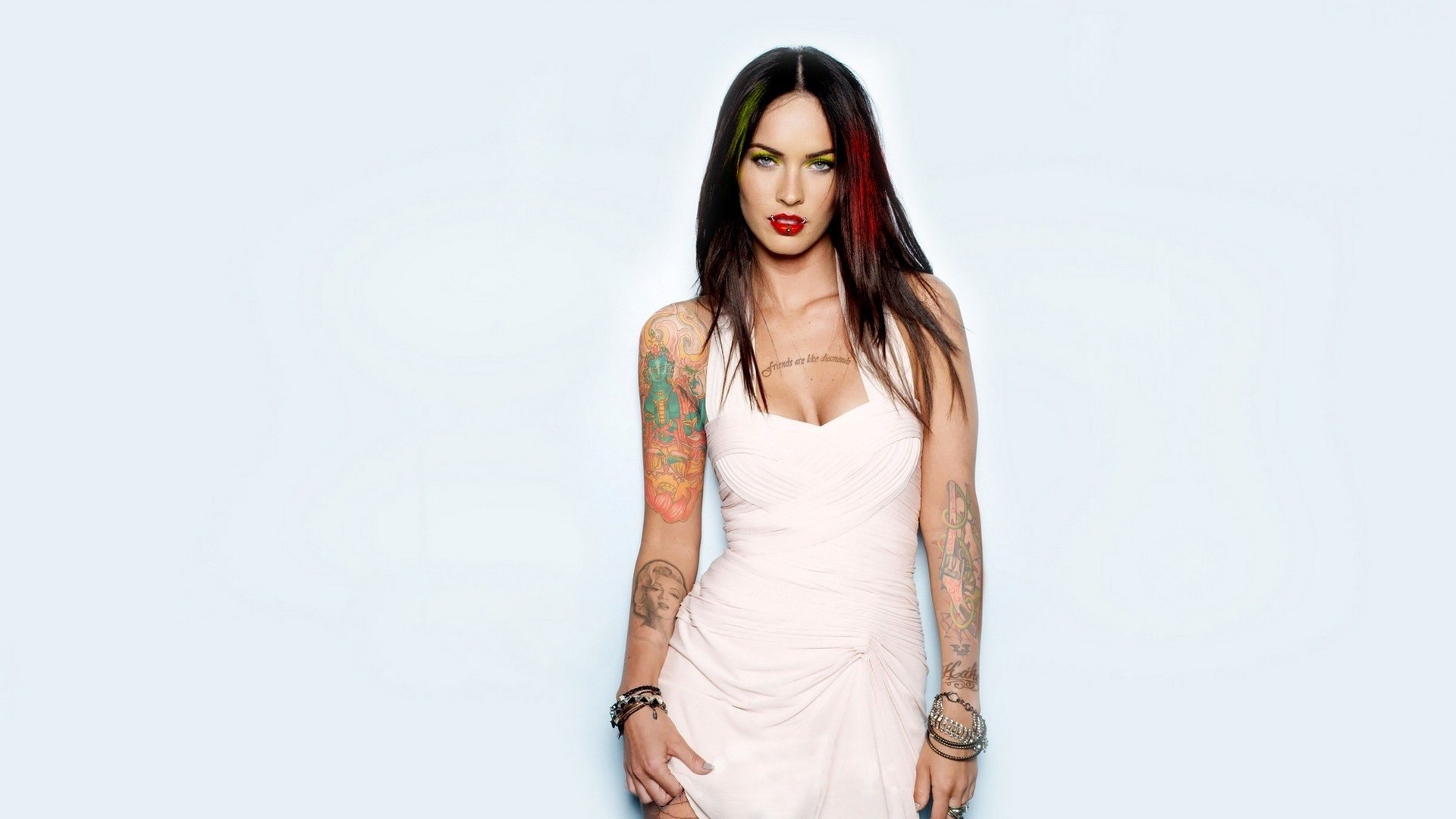 Preview wallpaper megan fox, brunette, tattoo, clothes, piercings, style,  swag