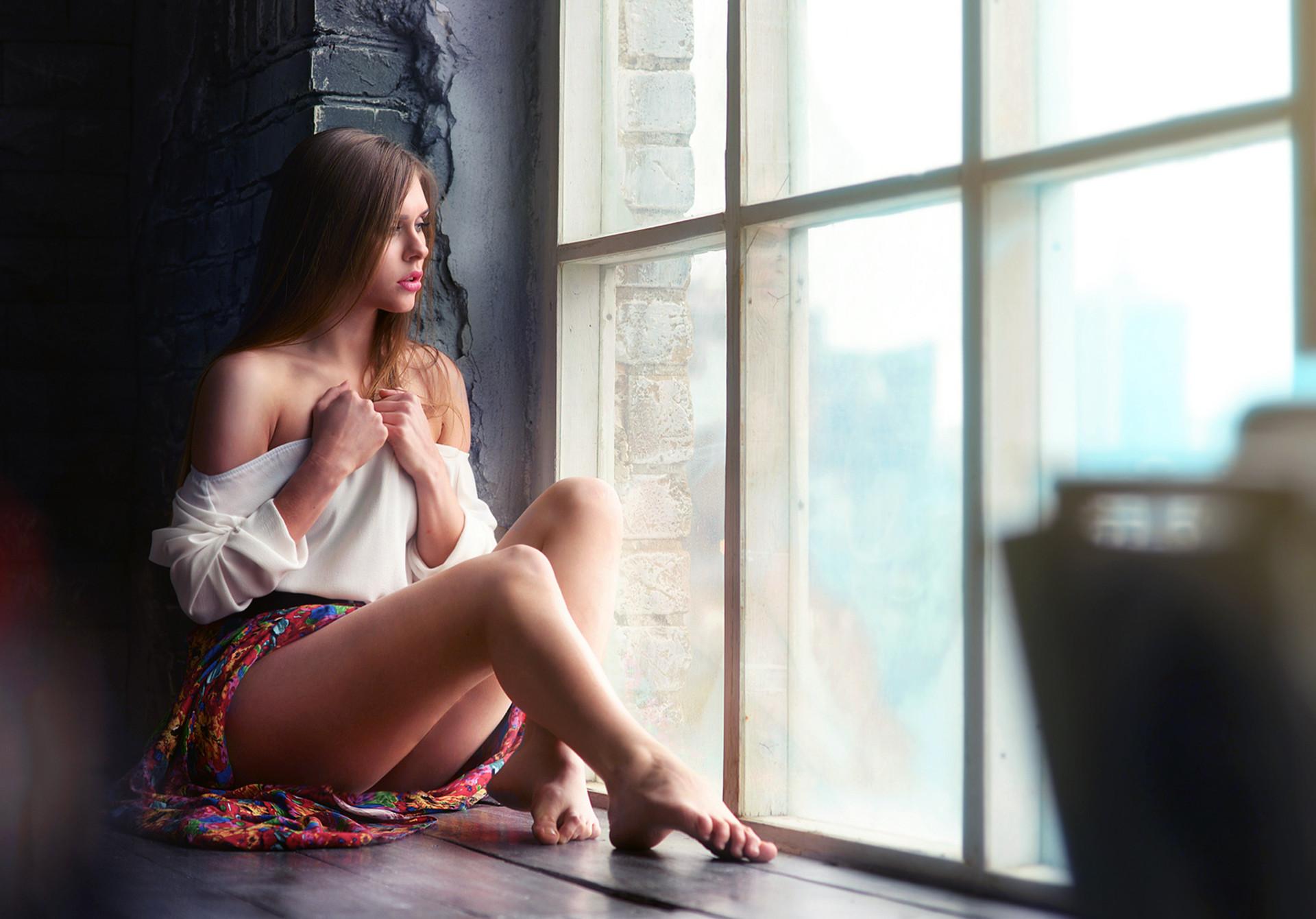 Cute Sad Girl, Alone, Window