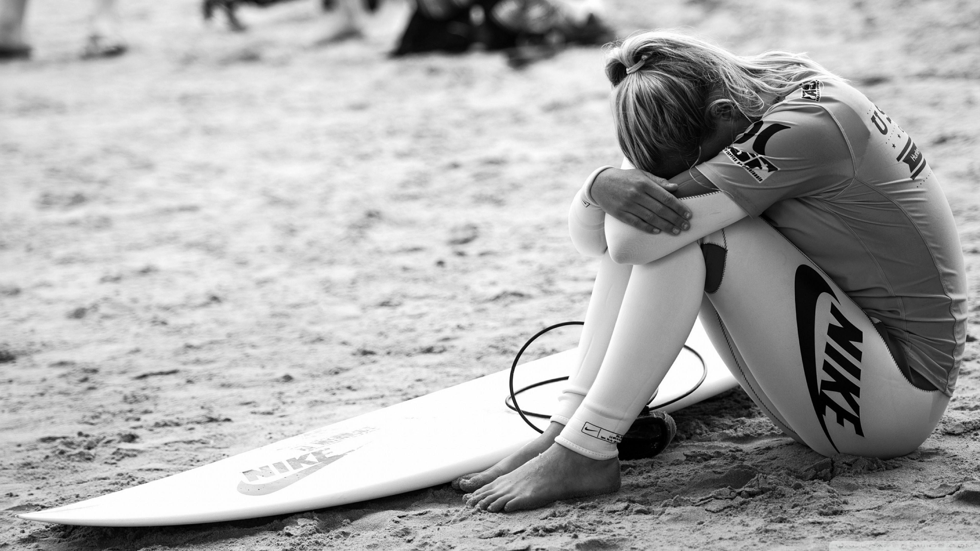 Preview wallpaper surfing, surfer, girl, sport, nike, bw 3840×2160