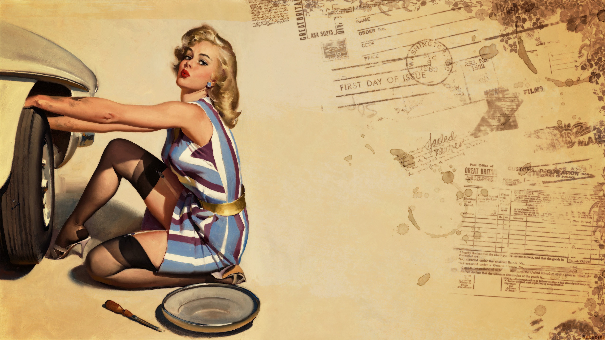 Pin-up Wallpaper, Style, Retro, Girls, Honnoror   Wallpapers