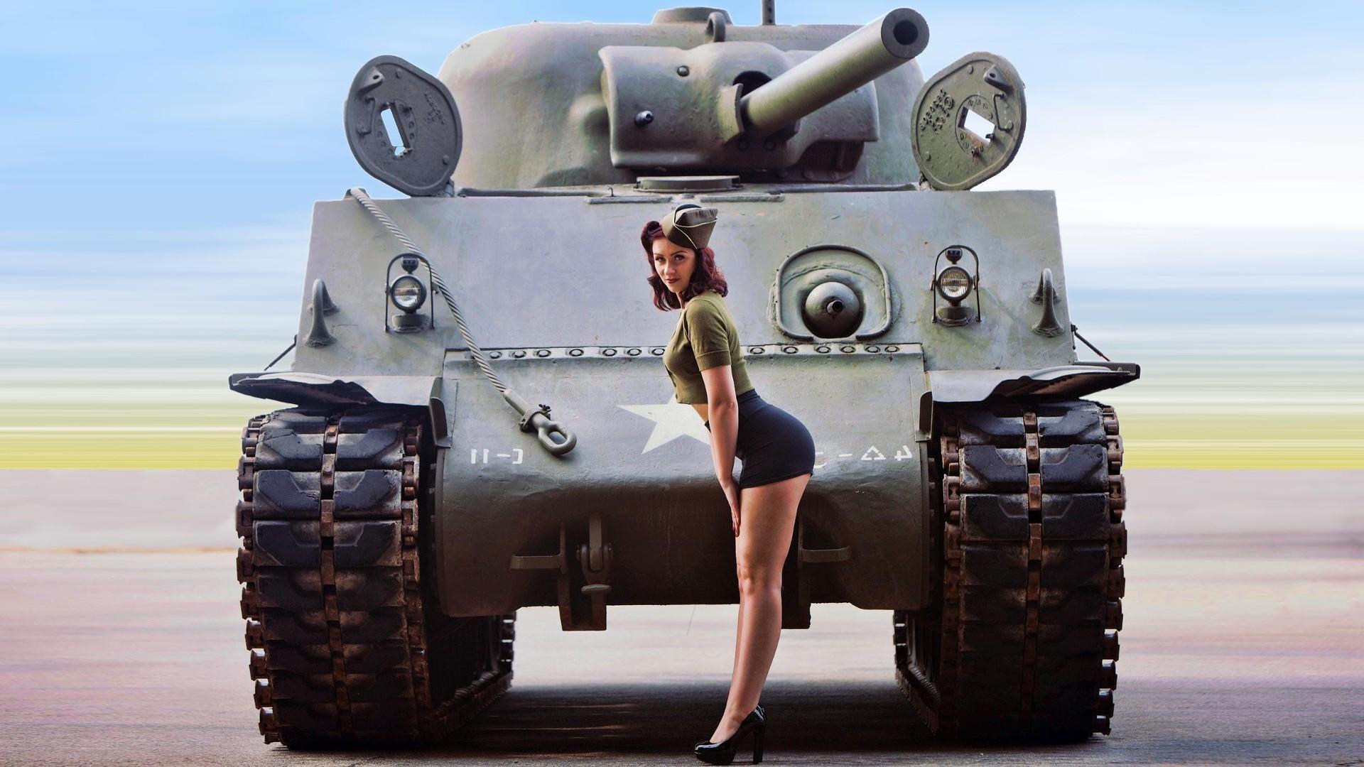 pinup Models, World War II, Women, M4 Sherman Wallpapers HD / Desktop and  Mobile Backgrounds