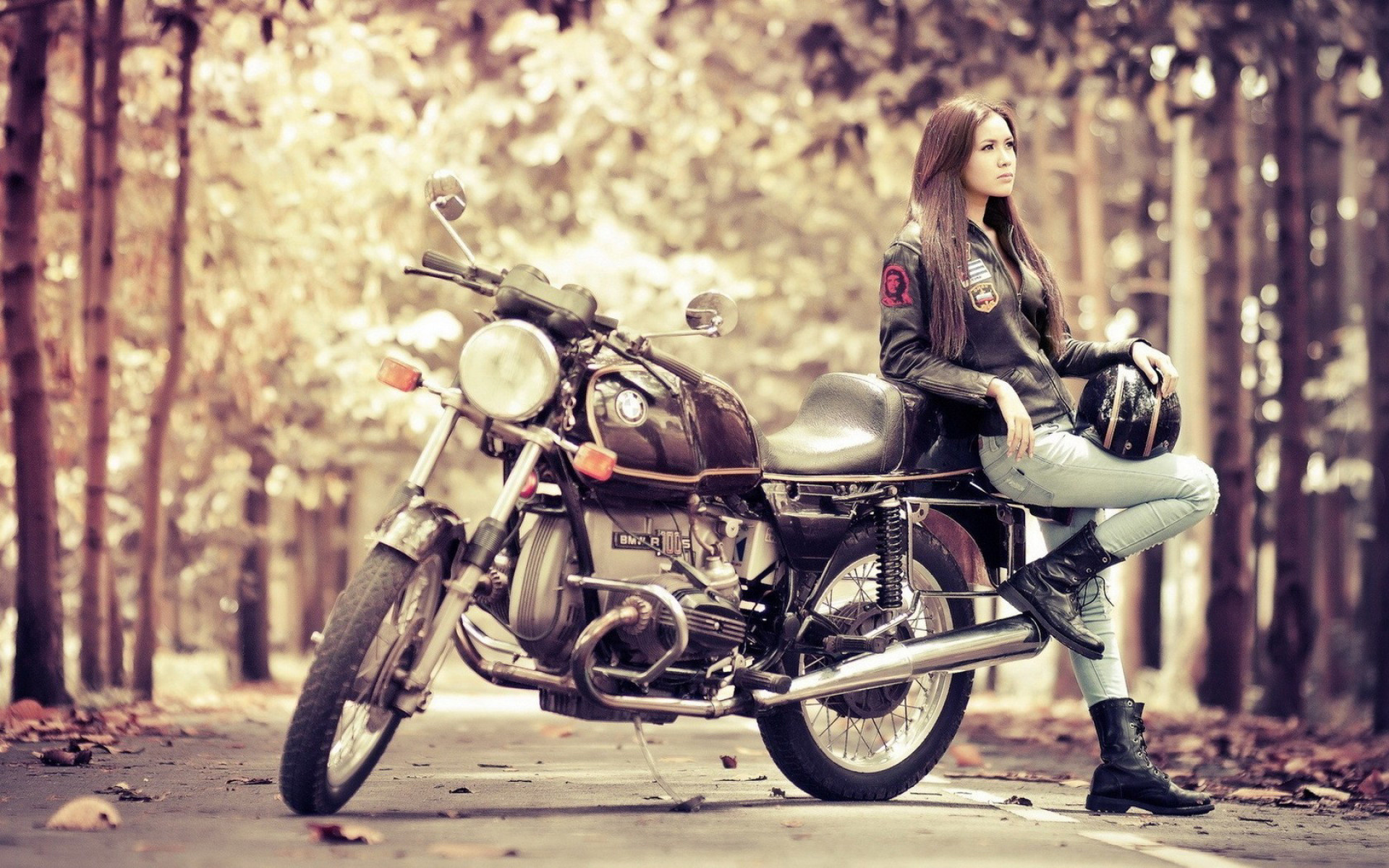 Girl Motorcycle BMW R100S HD Wallpapers
