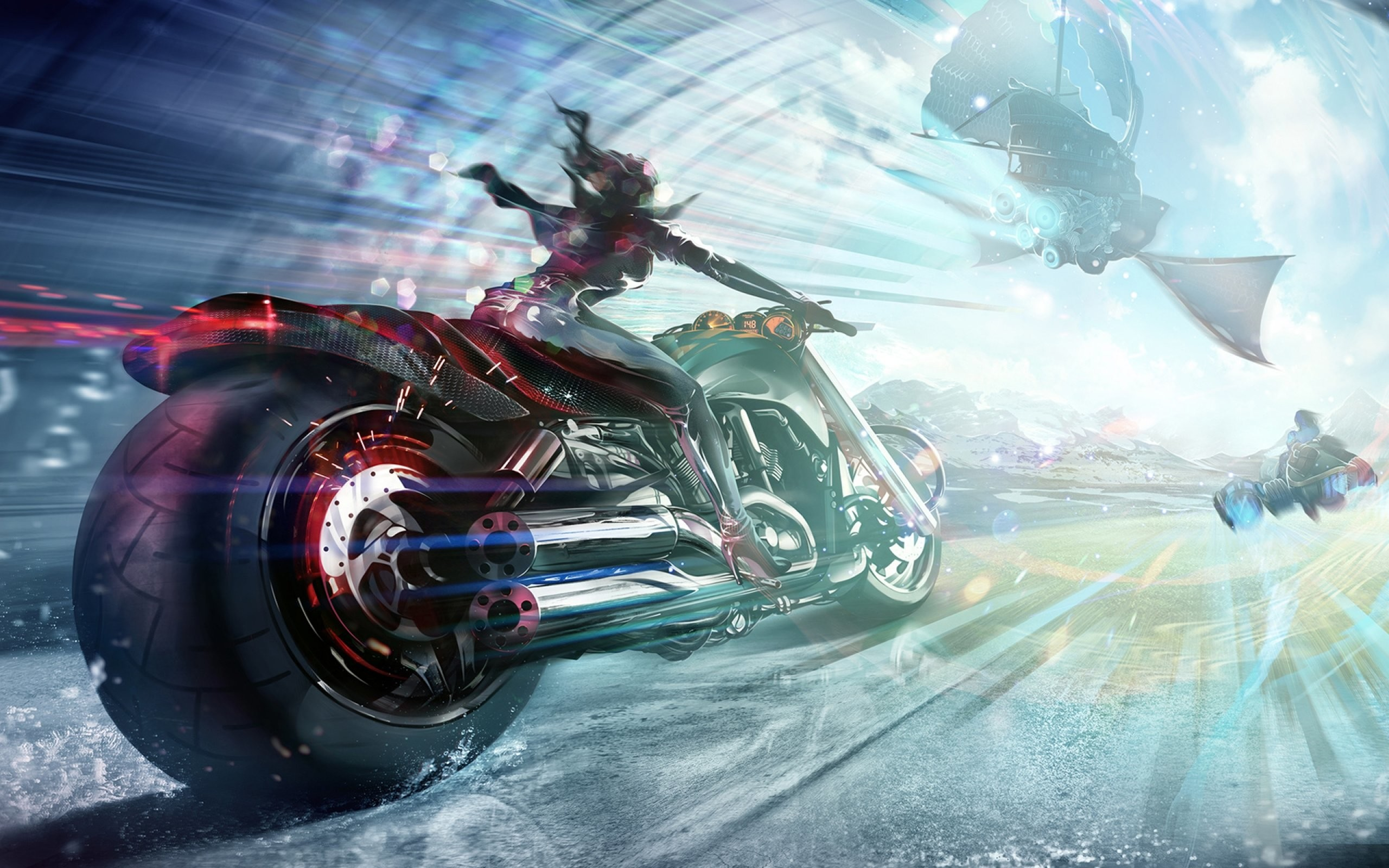 Sci-fi art artwork motorbike chopper girl motorcycle bike spaceship  wallpaper     684053   WallpaperUP
