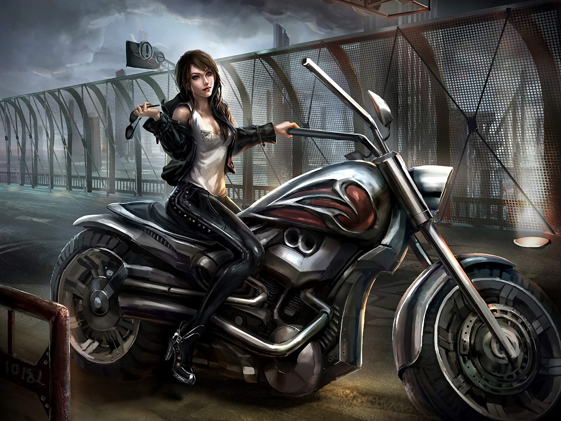 Art girl motorcycle goggles latex bridge girls original wallpaper      84776   WallpaperUP