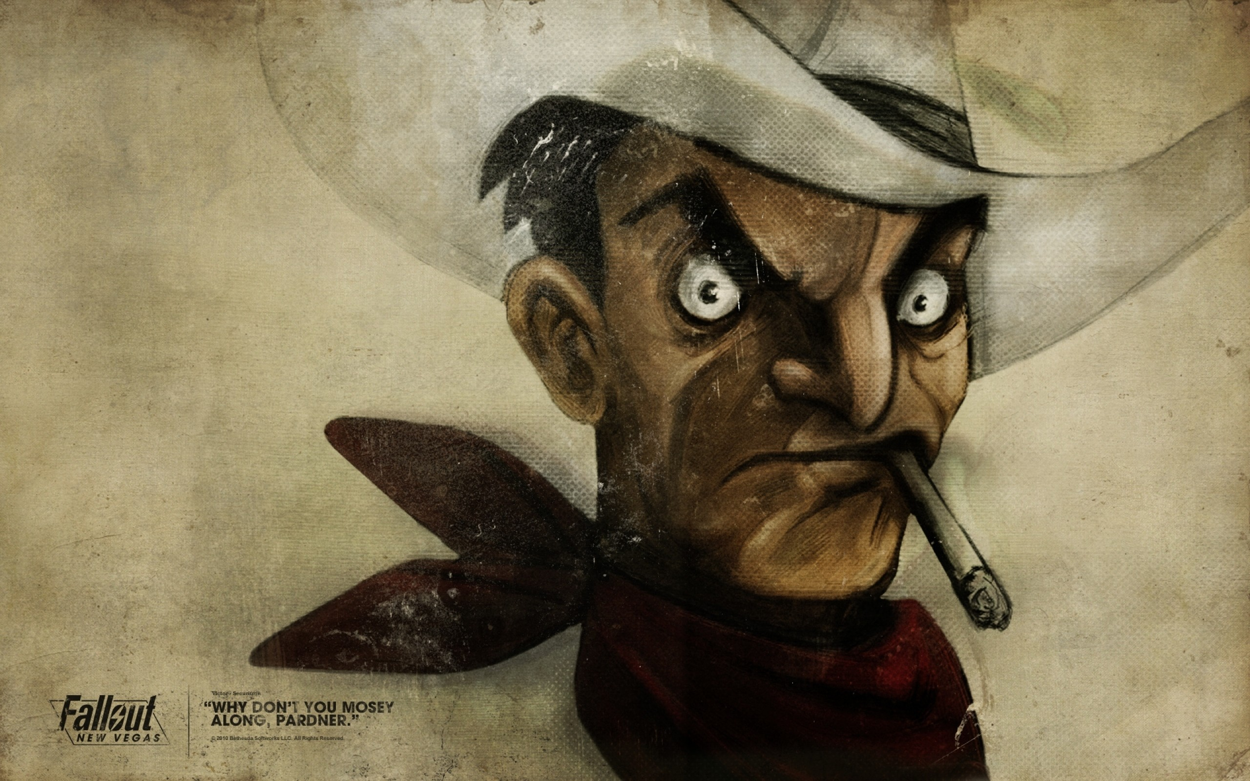 Preview wallpaper fallout, quote, cowboy, cigar, face 2560×1600