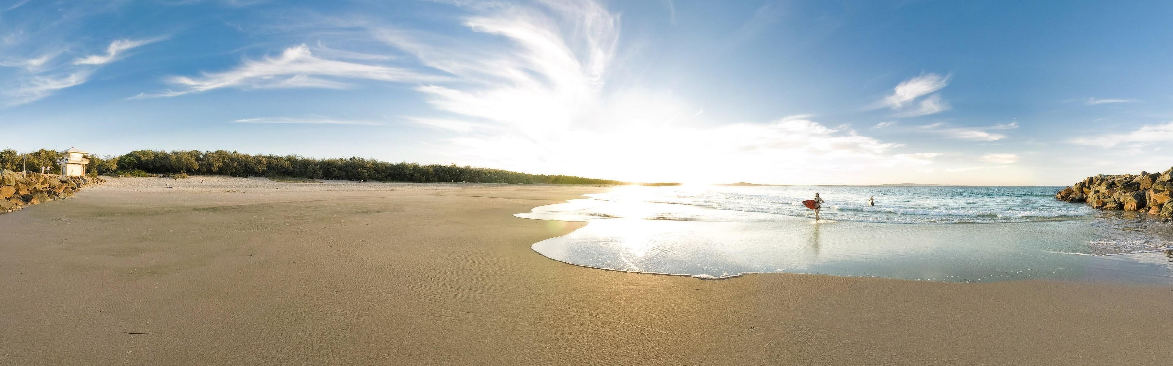 beach sand sea girls surfing stones dual screen