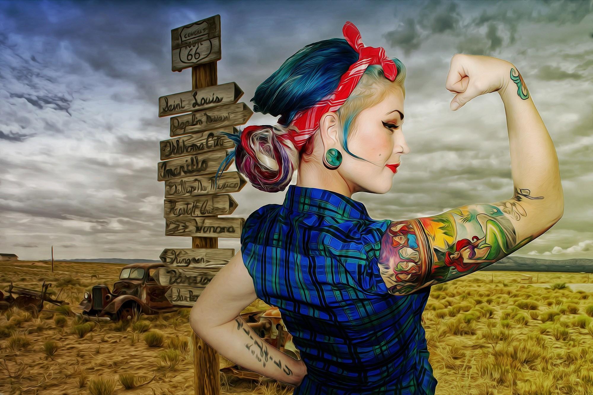Women – Artistic Woman Pin-Up Tattoo Mood Oil Paint Painting Wallpaper