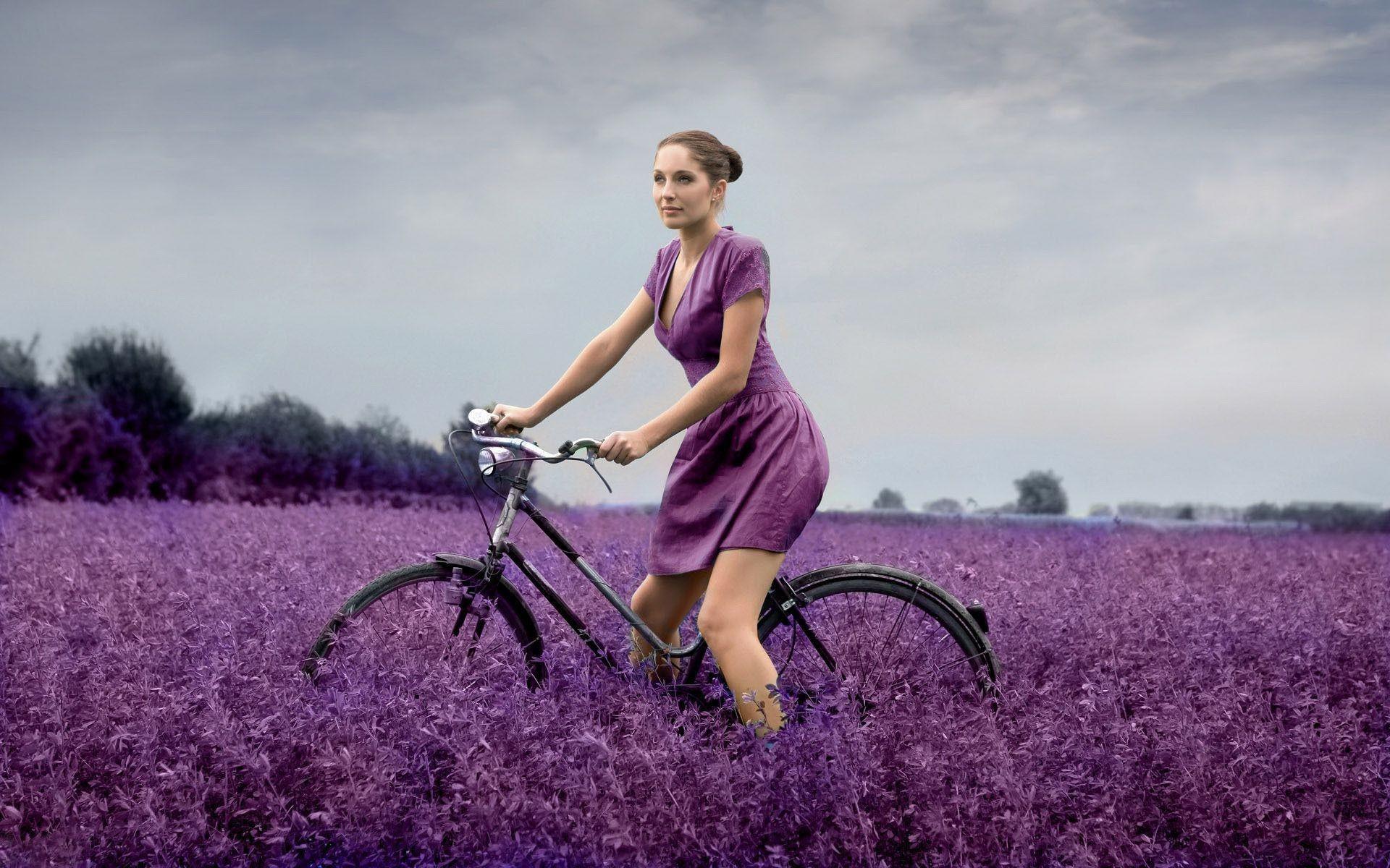 … the bike on a wild flowers field HD Wallpaper 1920×1200