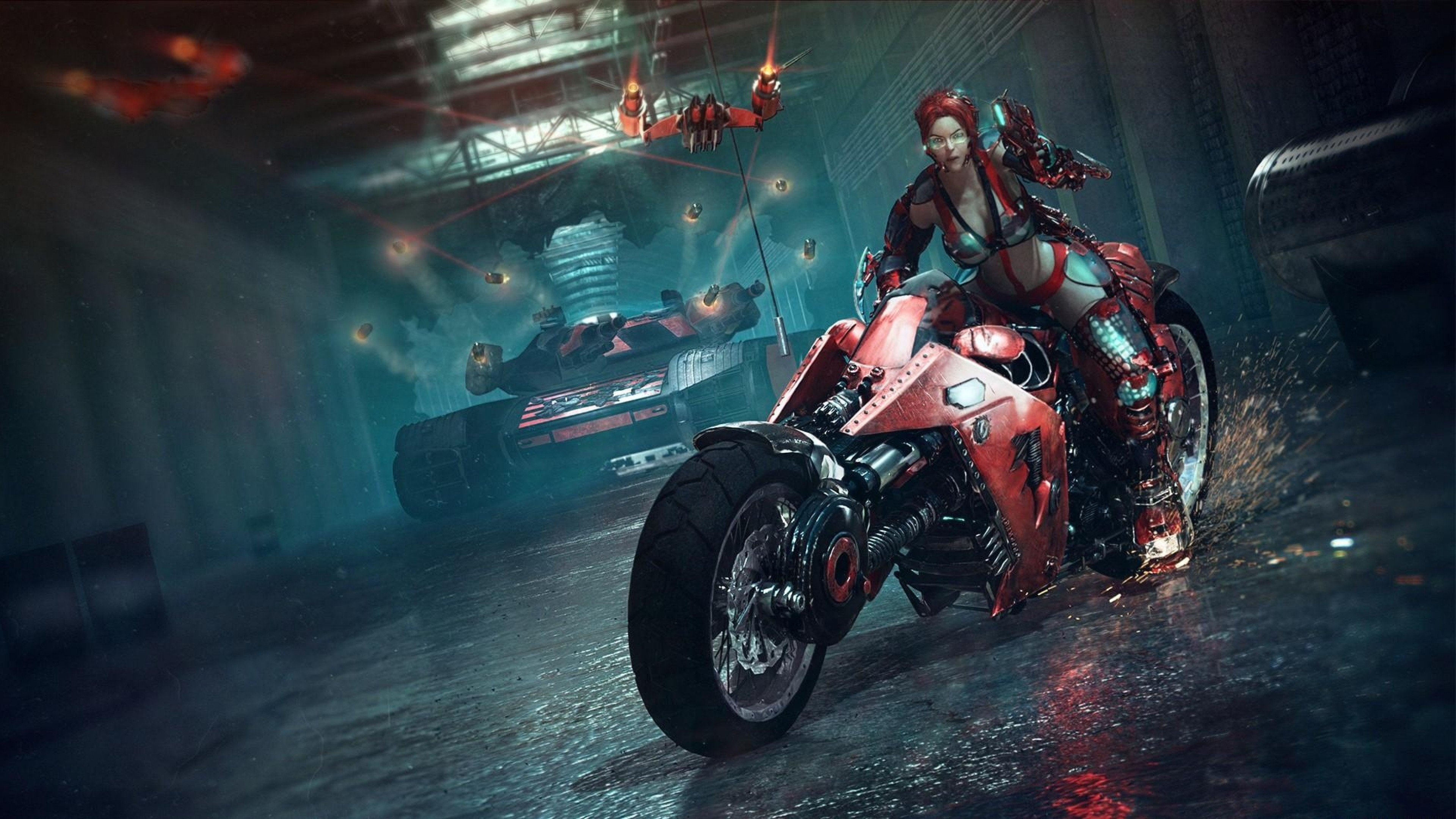 Preview wallpaper bike, girl, dress, tank, spark 3840×2160