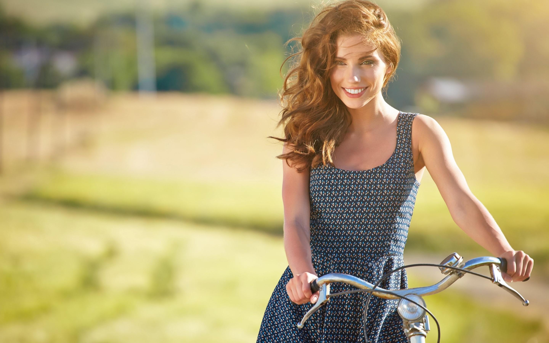 summer, girl, bicycle, bike, smile, joy, relaxation, positive,