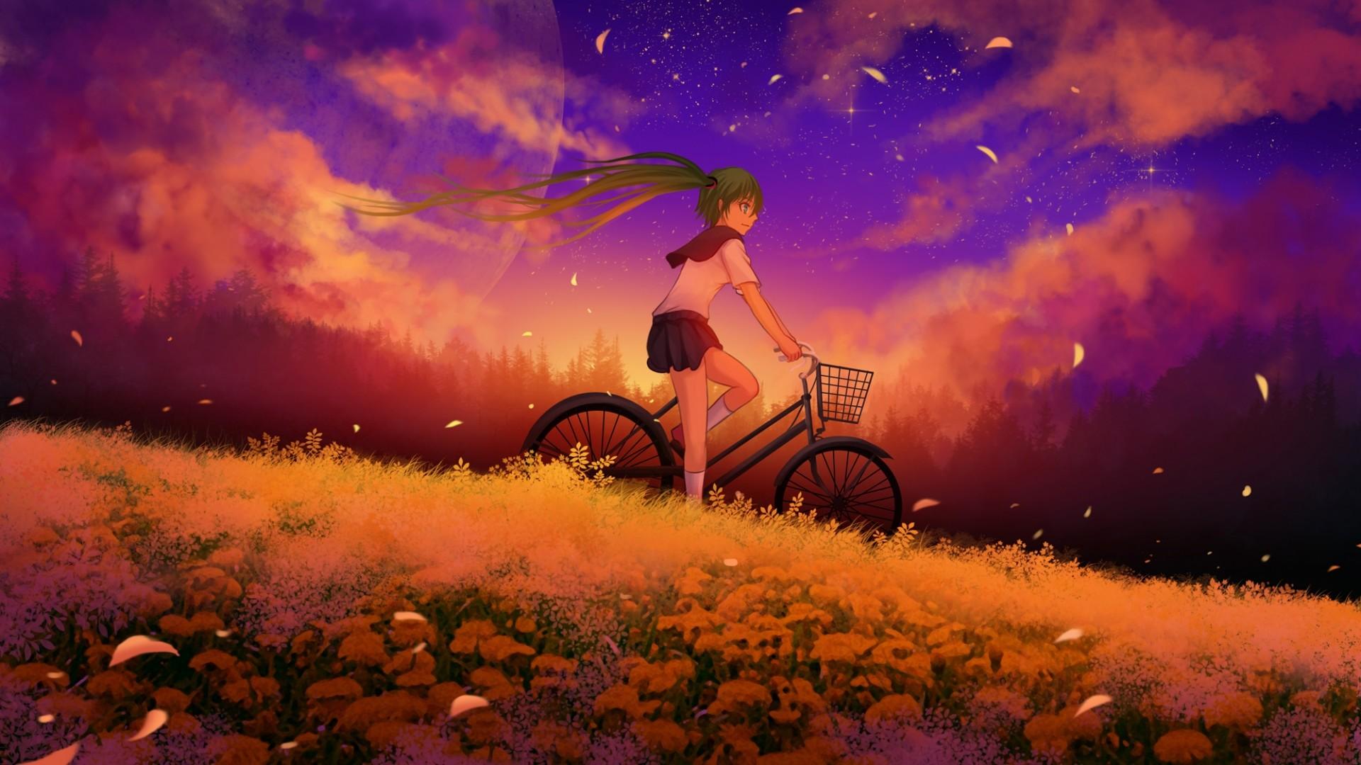 Wallpaper hatsune miku, girl, vocaloid, bike