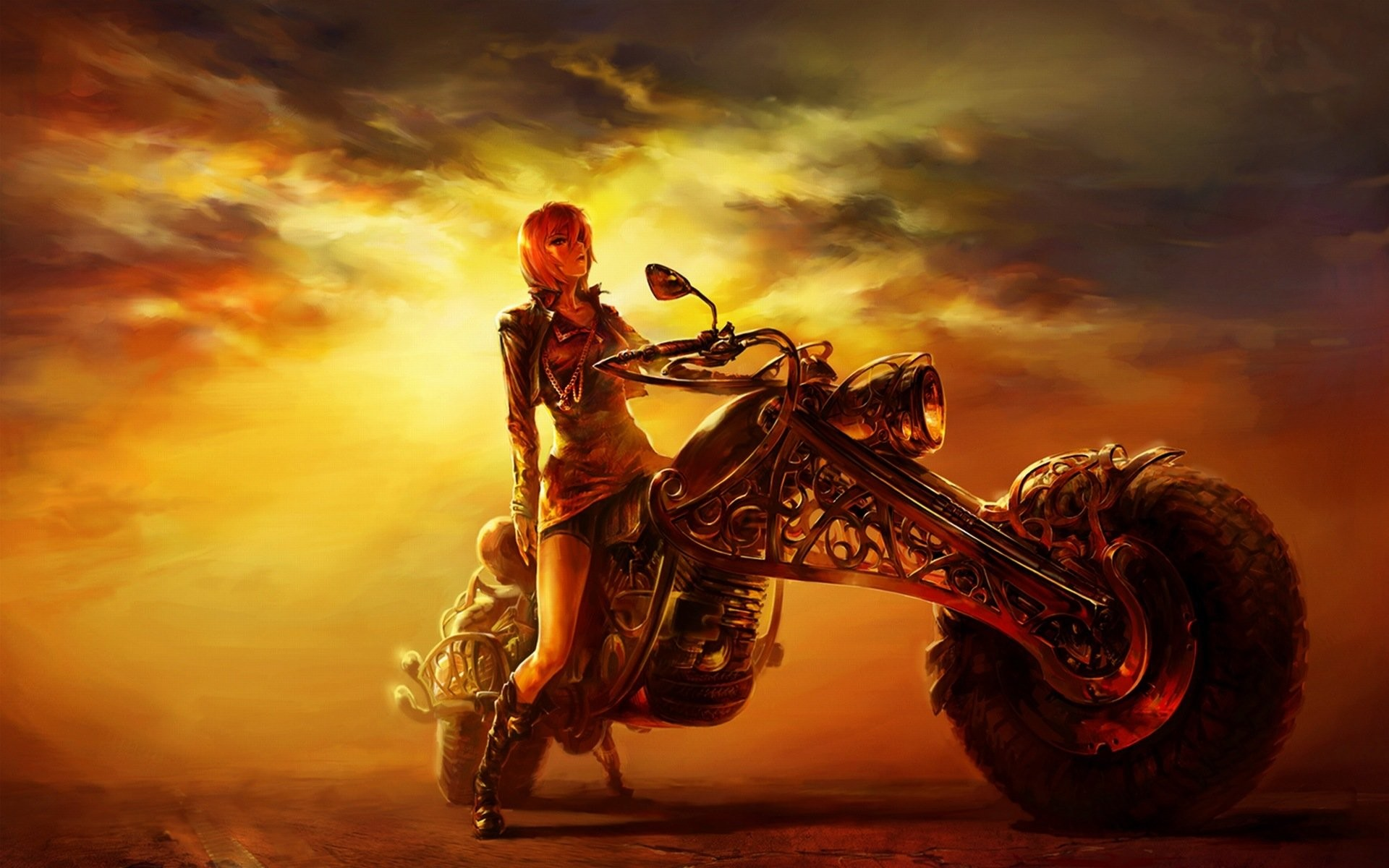 Motorcycle – Art Girl Sunset Wallpaper At Dark Wallpapers