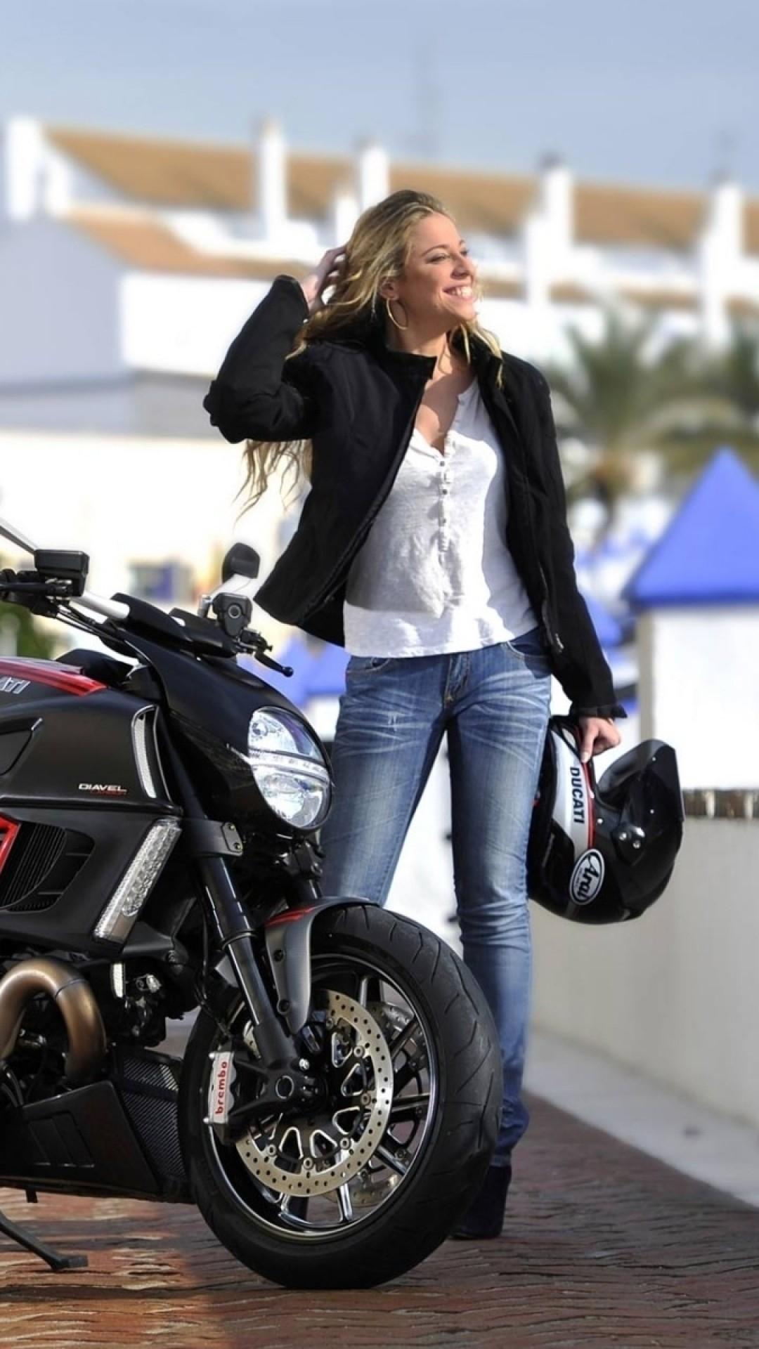 Wallpaper motorcycle, diavel, ducati, girl