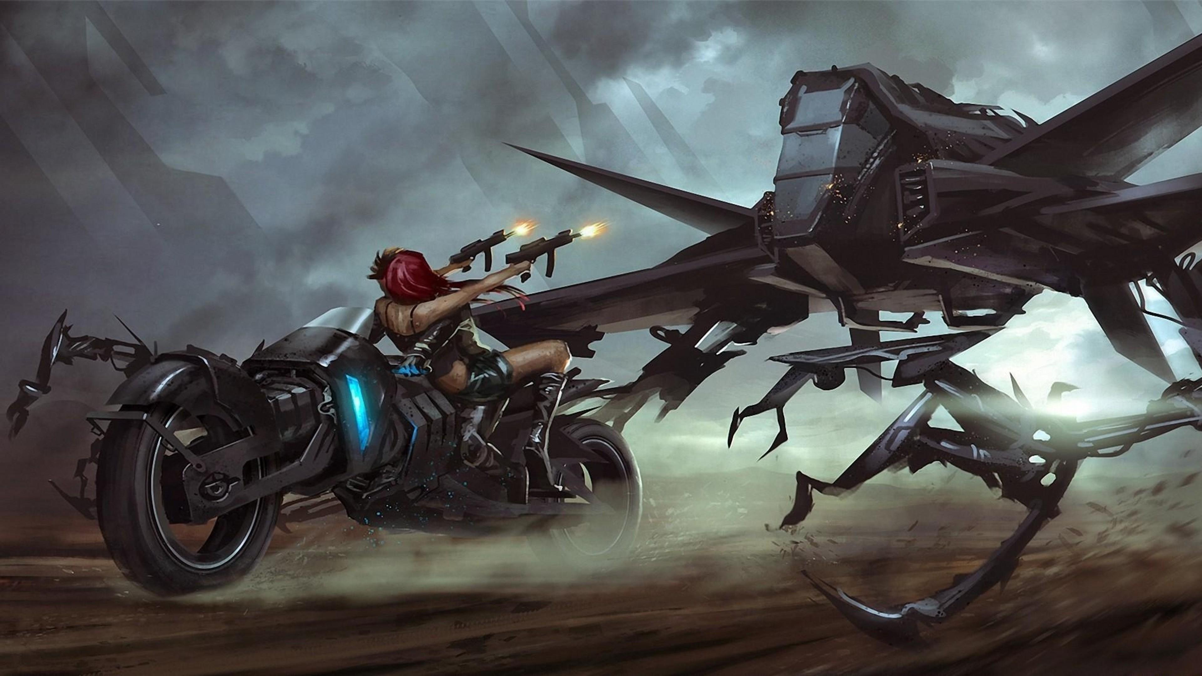 Wallpaper girl, motorcycle, guns, reflection, robot, monster