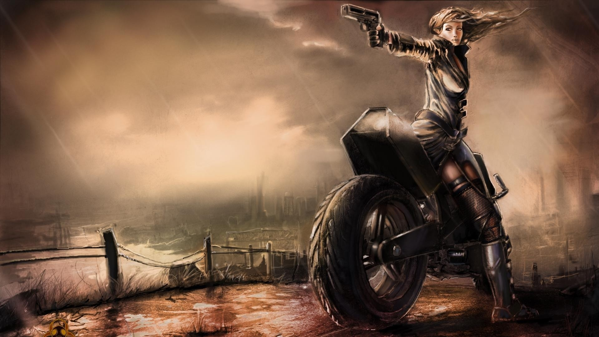 Wallpaper freedom fighters, girl, pistol, motorcycle, rain