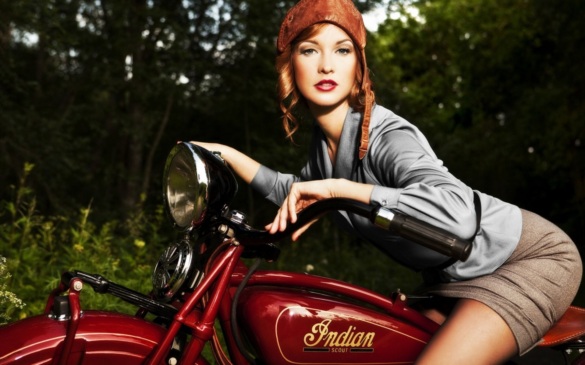 mood motorcycle beautiful girl to leather cap to motorcycle indian scout  scout model 1920 georgia was