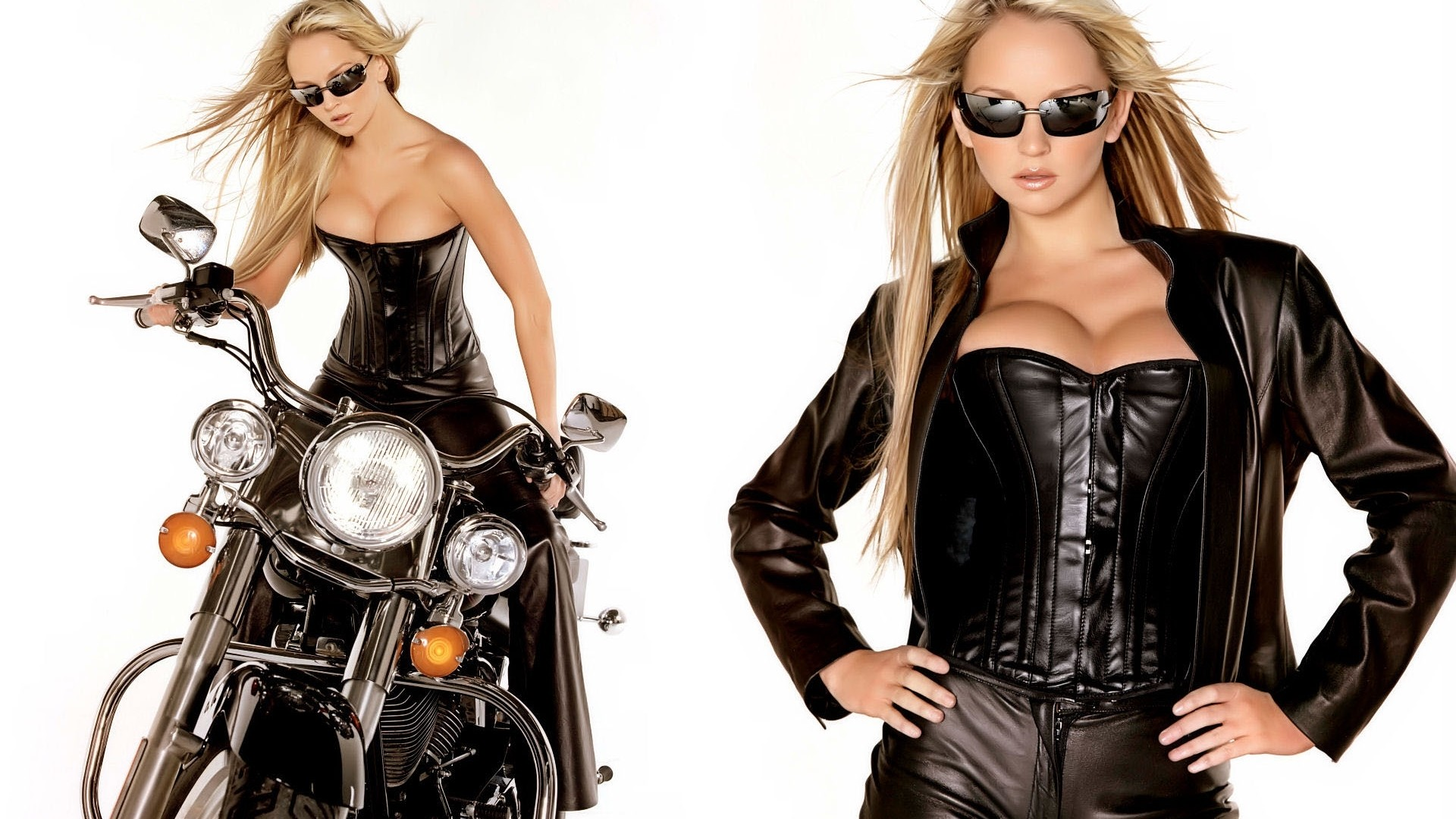 Wallpaper Blonde, Glasses, Jacket, Motorcycle, Leather HD, Picture, Image