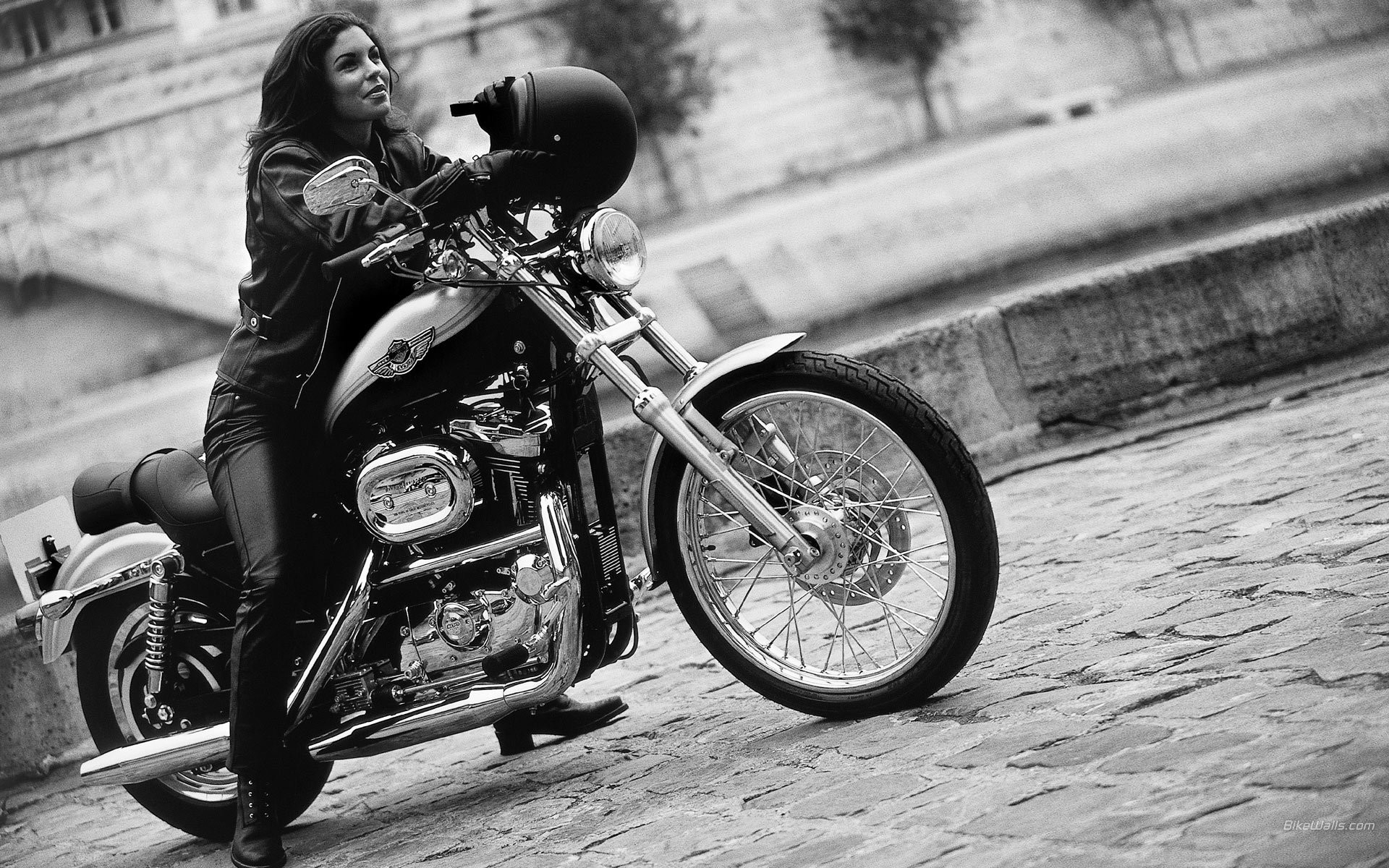 Harley davidson, motorcycle, bike, helmet, girl wallpaper (photos .