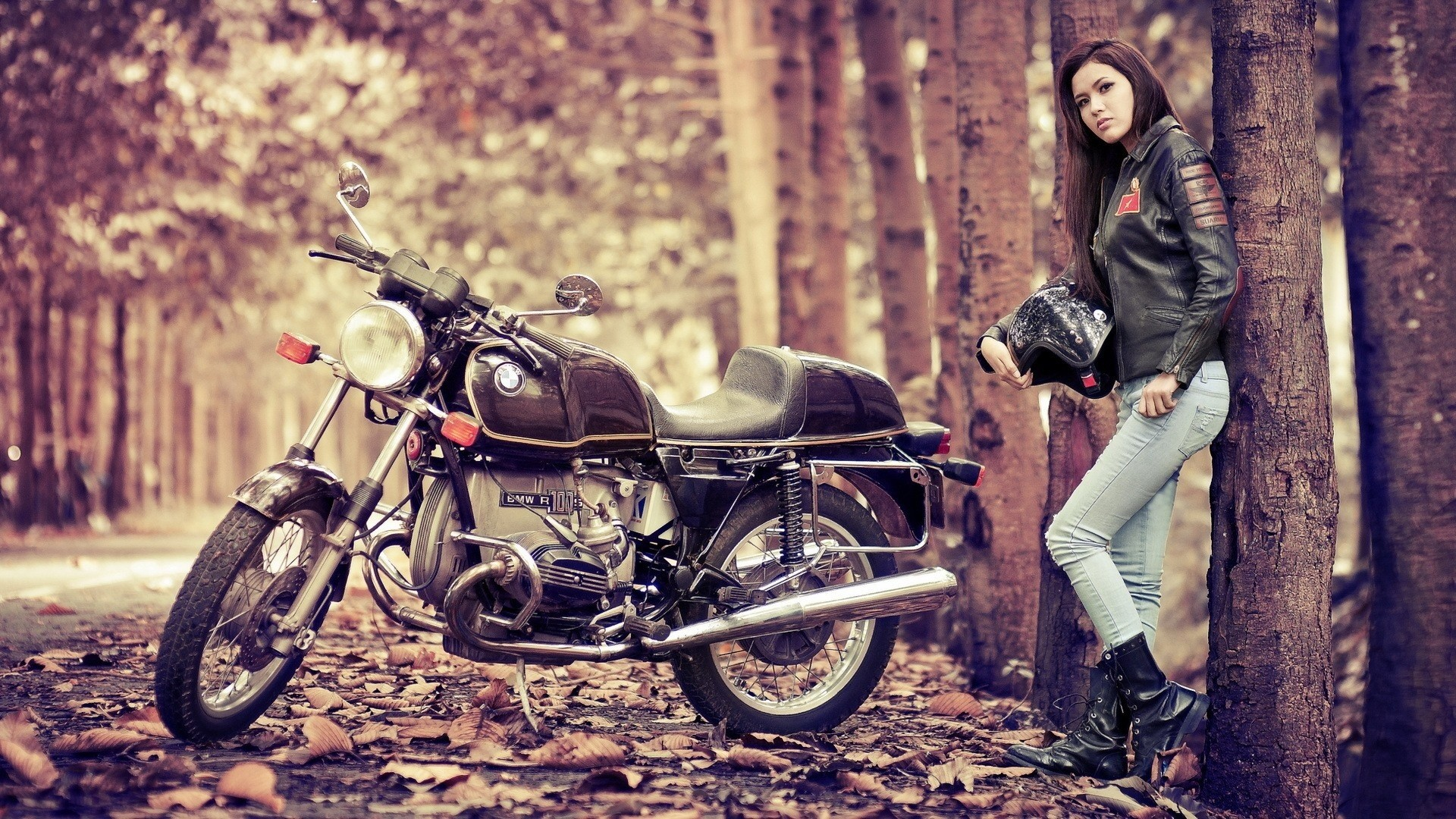 vehicles motorcycles bikes roads autumn fall leaves women females girls  models brunttes wallpaper