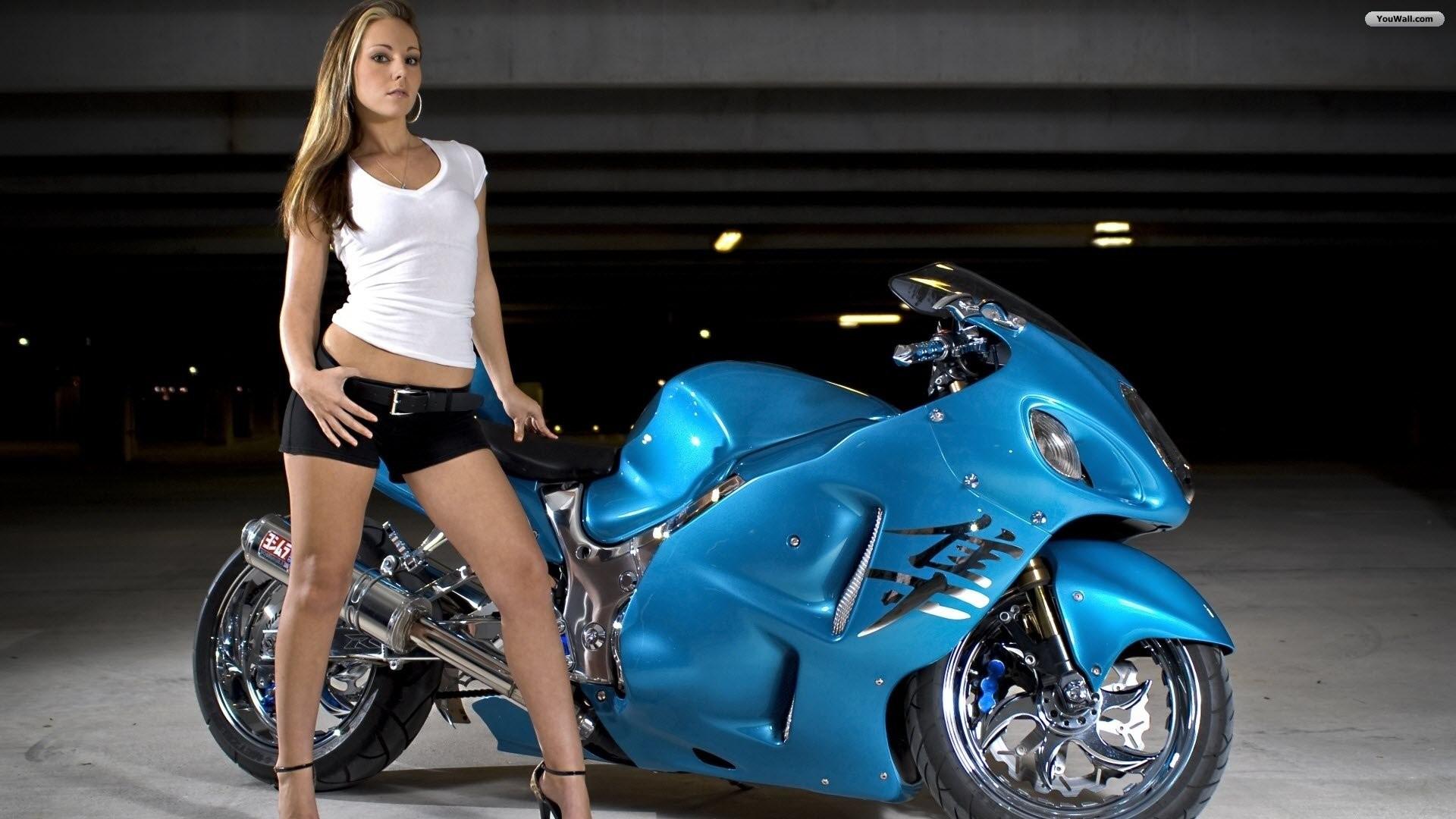 Sexy Girl And Suzuki Gsx Wallpaper Picture