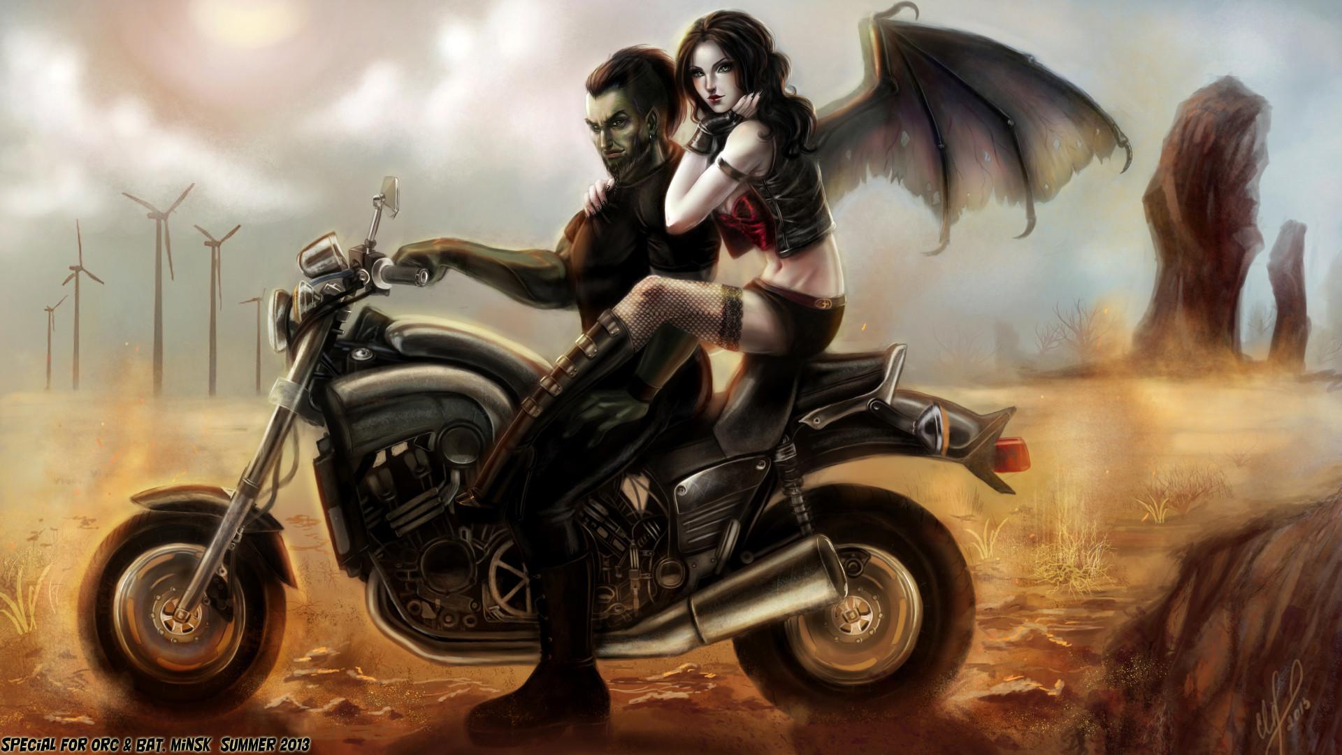 Wallpapers Vampires Men Wings Girls Fantasy Motorcycles Man