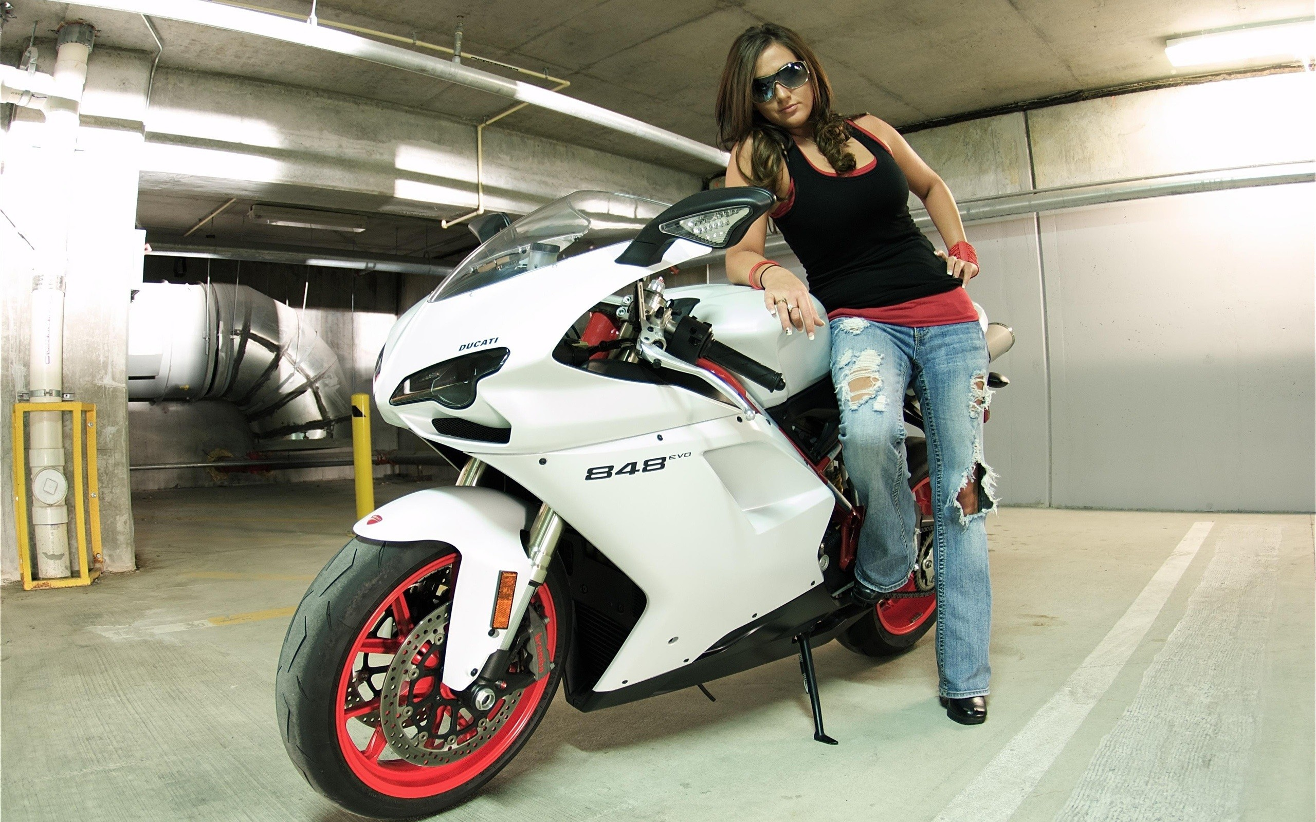 Ducati 848 white color motorcycle and girl wallpaper thumb