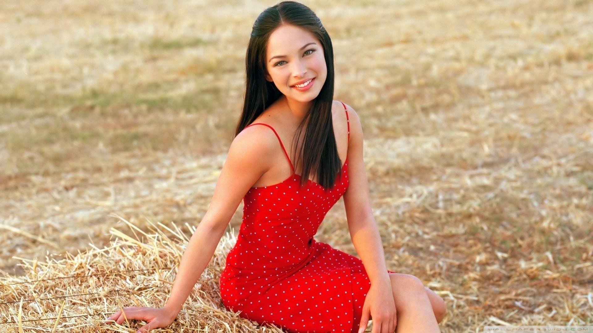 Kristin Kreuk in Red Dress HD Wide Wallpaper for Widescreen