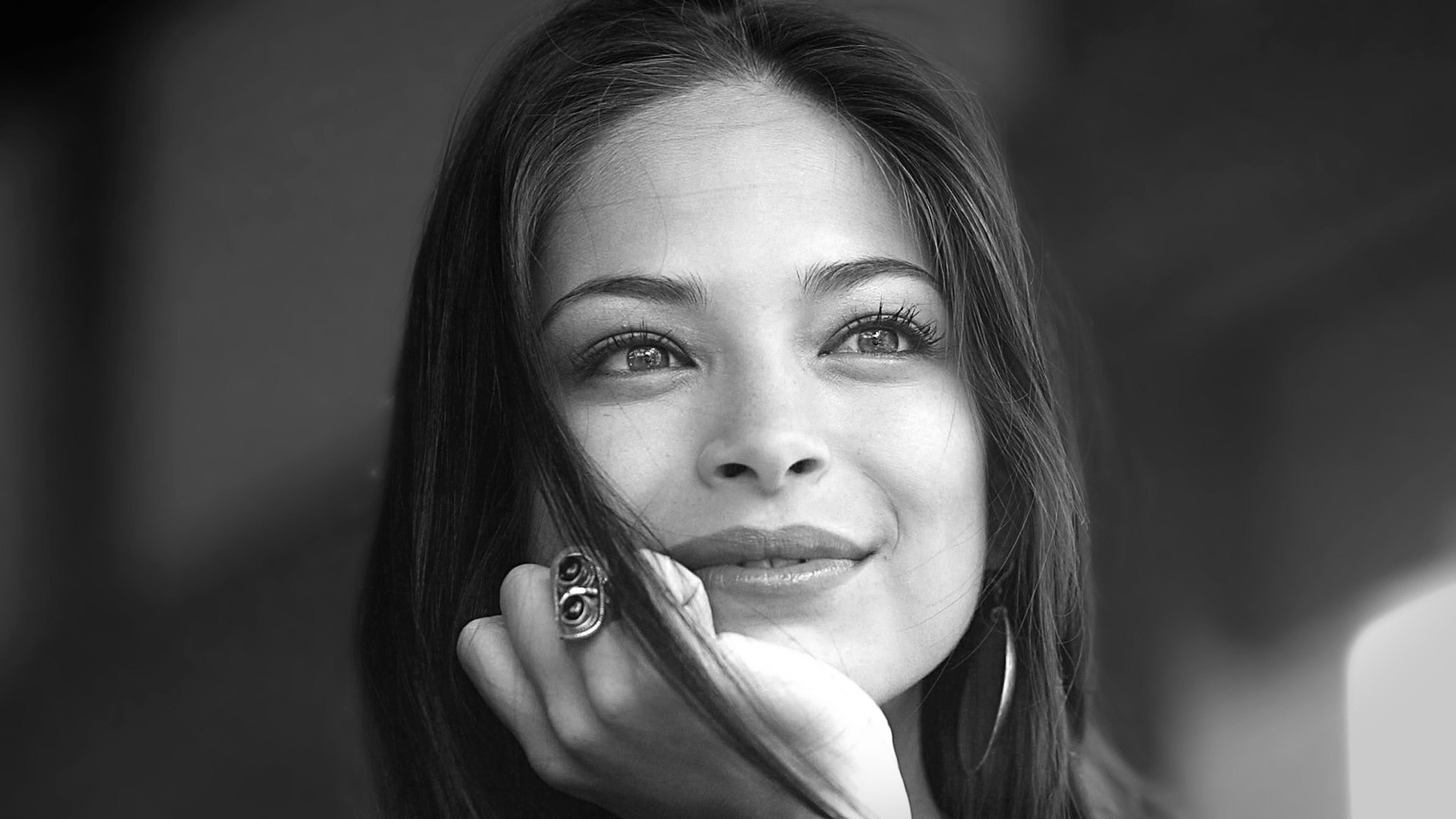 Wallpaper kristin kreuk, brunette, look, model, smile, black and  white