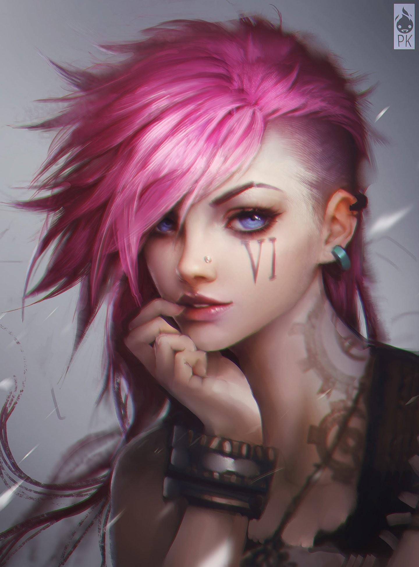 Pink hair blue eyes punk girl fantasy wallpaper | | 575956 |  WallpaperUP