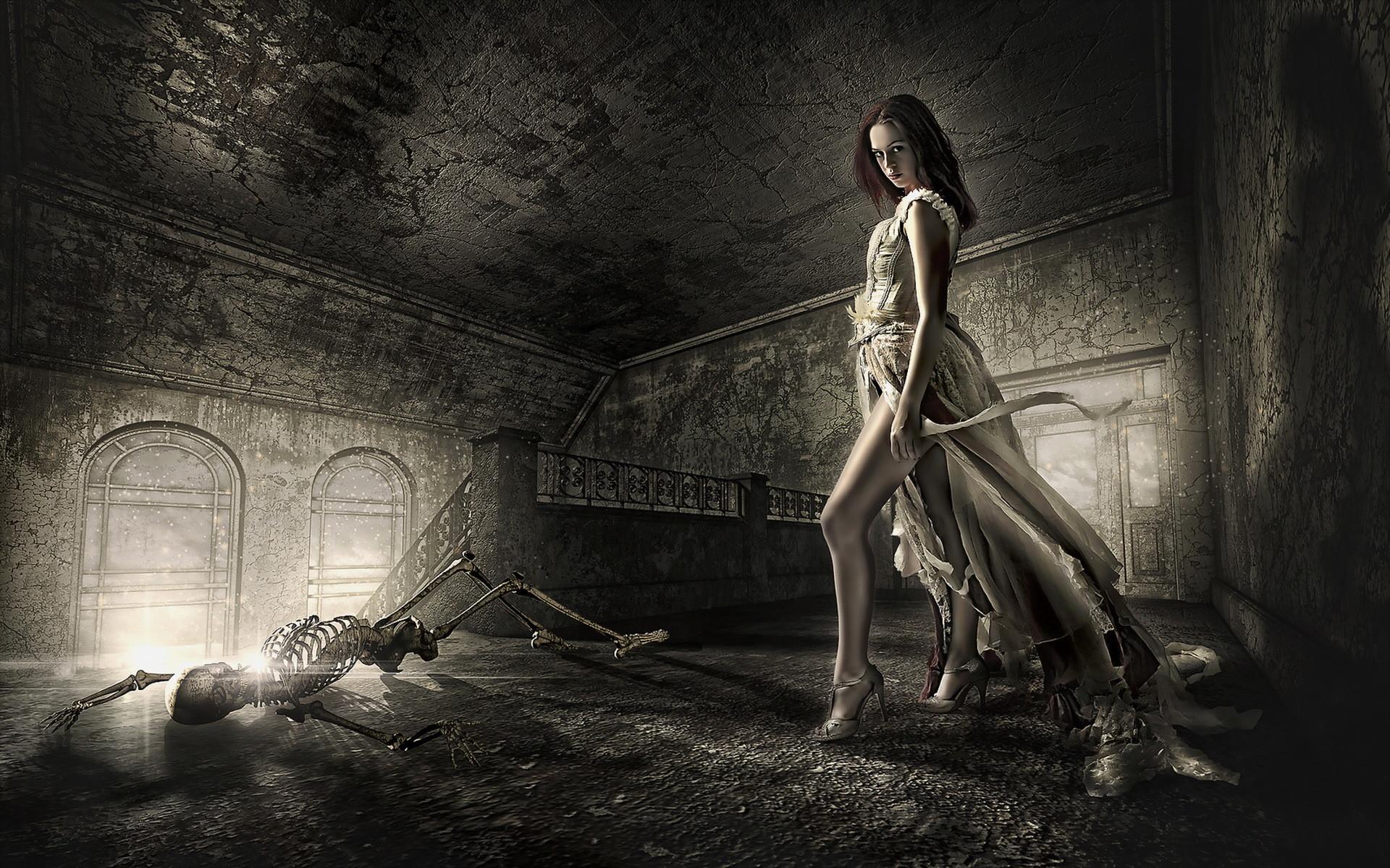 Dead death decay lost soul skeleton dark fantasy gothic girl .