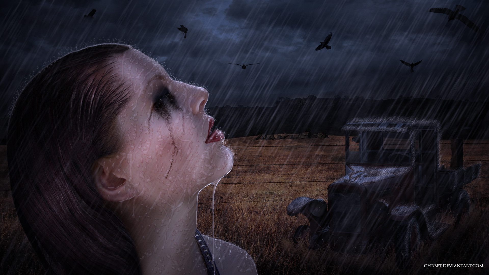 Crying girl in rainy day wallpaper from Dark wallpapers