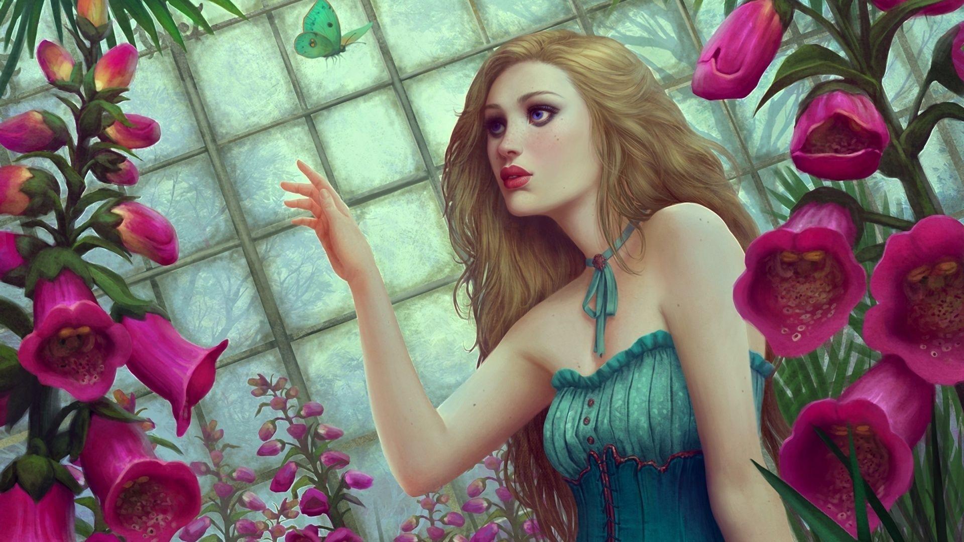 Download Fantasy Girl Butterfly Flowers Wallpaper